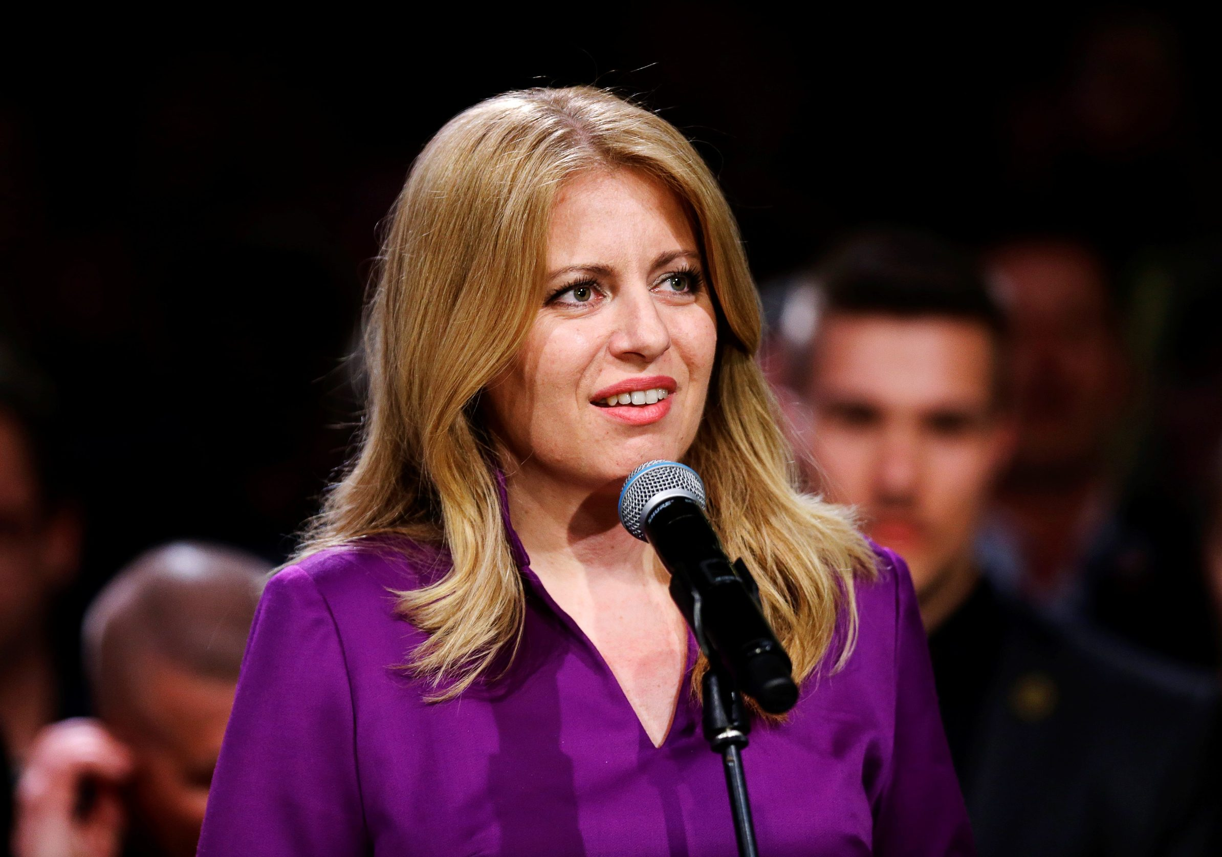 Slovakia's presidential candidate Zuzana Caputova speaks after winning the presidential election, at her party's headquarters in Bratislava, Slovakia, March 30, 2019. REUTERS/David W Cerny