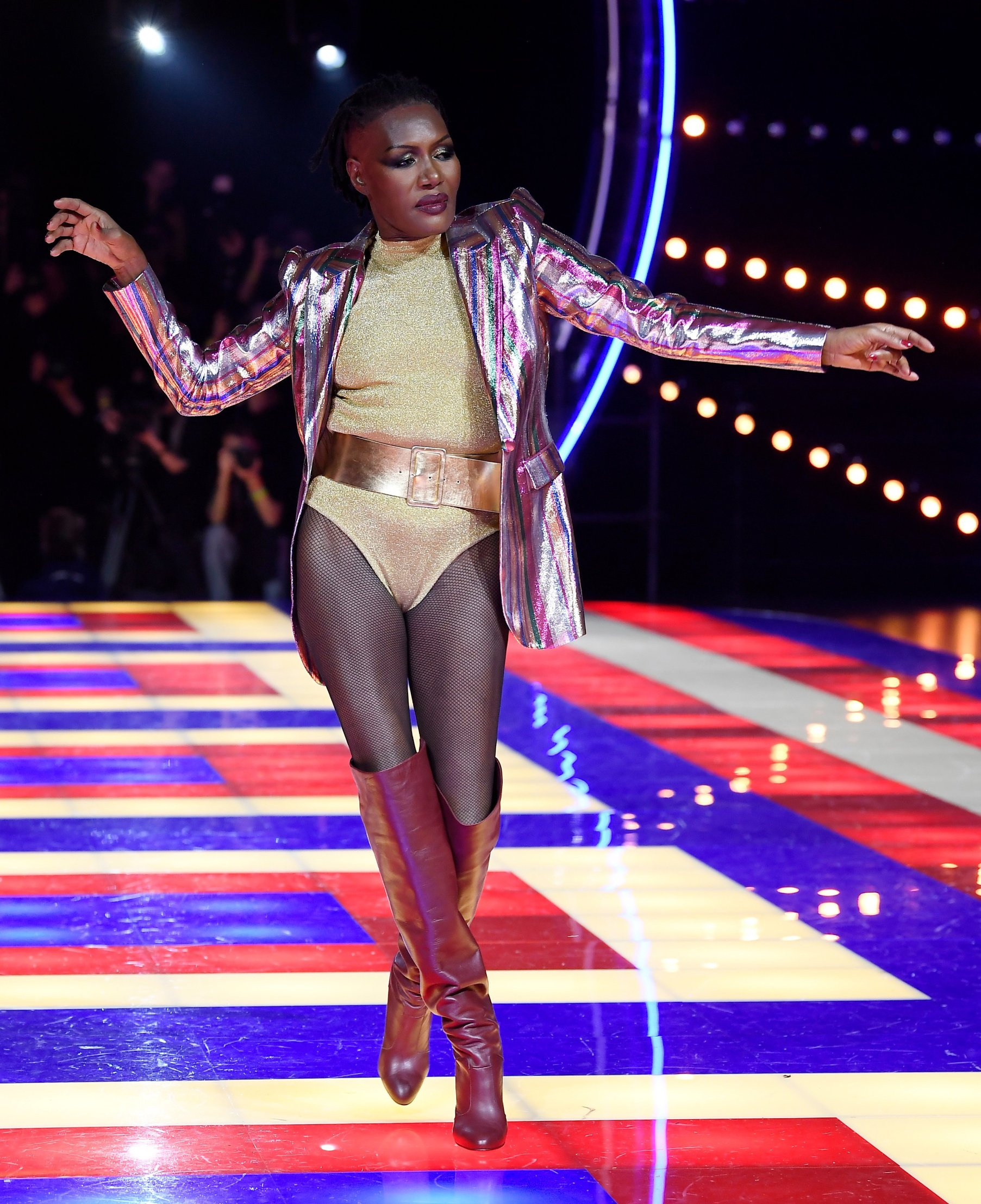 Grace Jones on the catwalk Tommy Hilfiger show, Runway, Fall Winter 2019, Paris Fashion Week, France - 02 Mar 2019, Image: 416924242, License: Rights-managed, Restrictions: , Model Release: no, Credit line: Profimedia, TEMP Rex Features