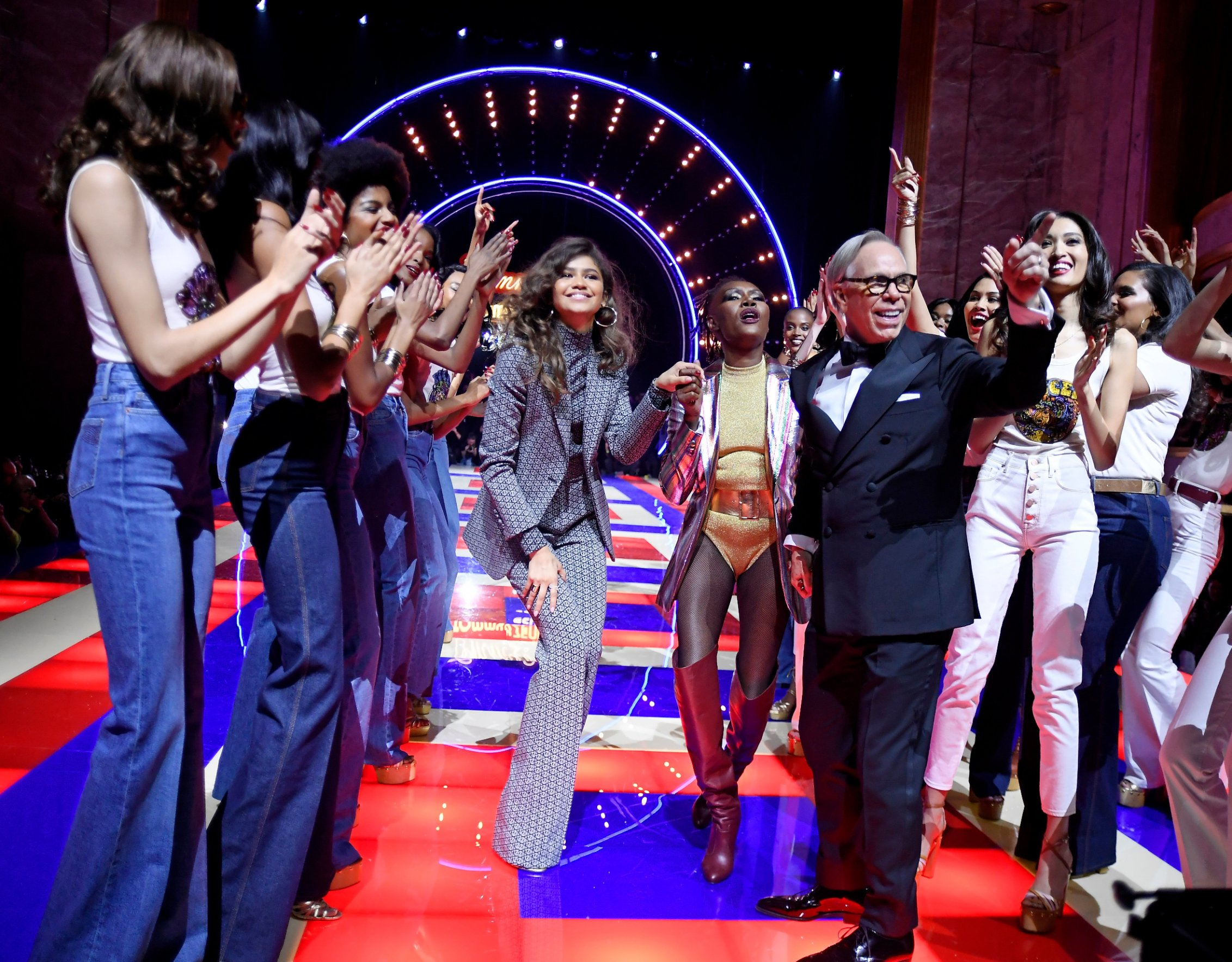 Zendaya, Grace Jones, Tommy Hilfiger and models on the catwalk Tommy Hilfiger show, Runway, Fall Winter 2019, Paris Fashion Week, France - 02 Mar 2019, Image: 416926947, License: Rights-managed, Restrictions: , Model Release: no, Credit line: Profimedia, TEMP Rex Features
