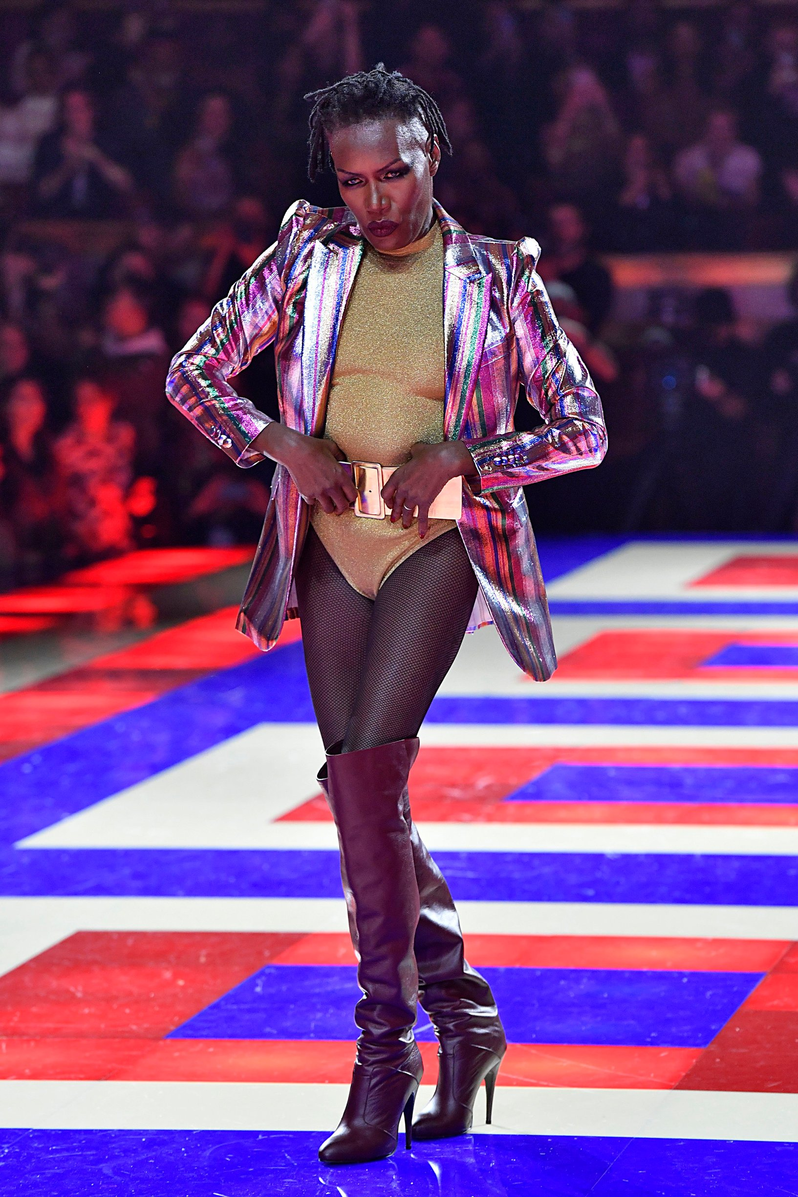 Grace Jones walks on the runway during the Tommy Hilfiger Ready To Wear Fashion Show during Paris Fashion Week Spring 2019 held in Paris, France on March 2, 2019., Image: 416997876, License: Rights-managed, Restrictions: *** World Rights ***, Model Release: no, Credit line: Profimedia, SIPA USA