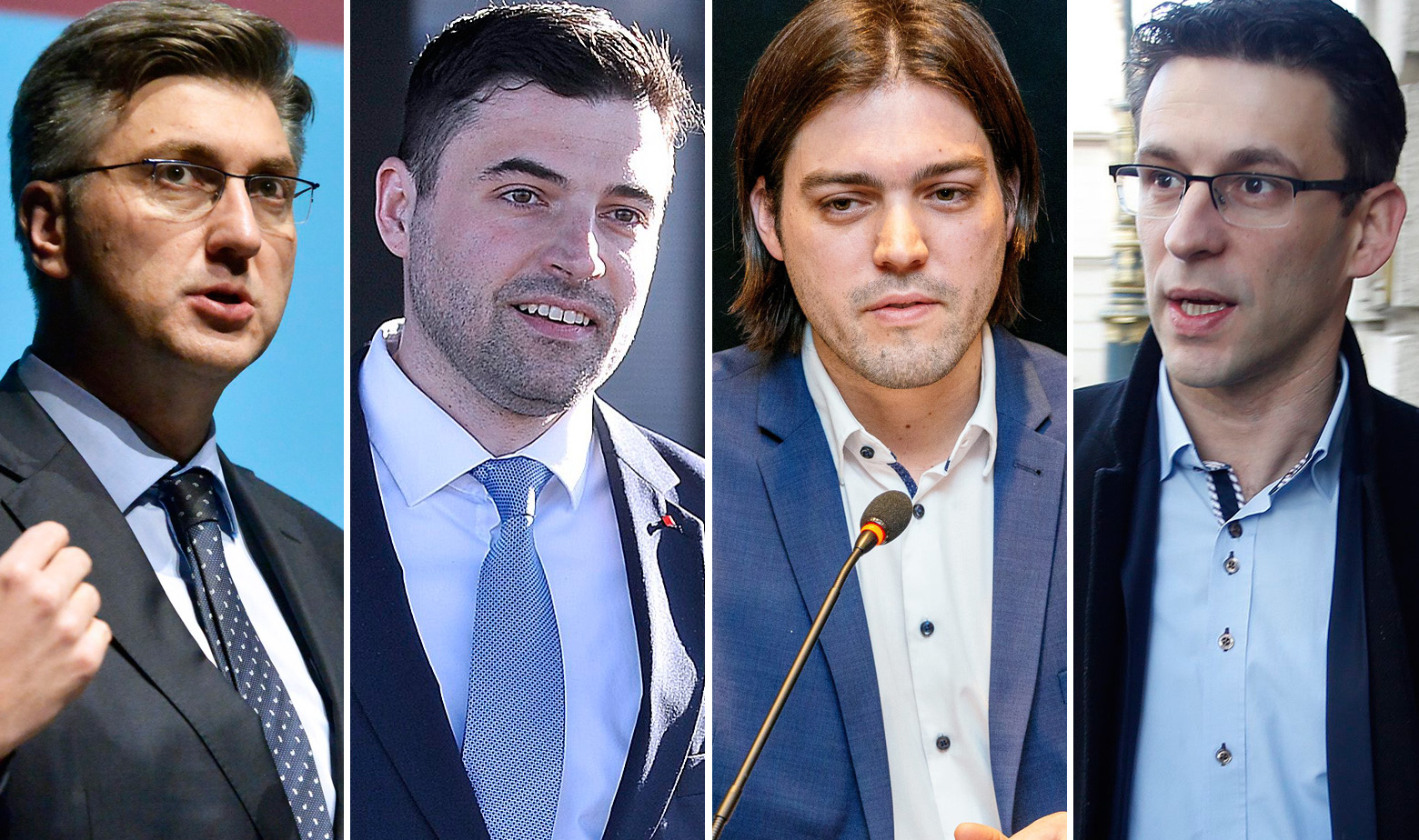 Andrej Plenković, Davor Bernardić, Ivan Vilibor Sinčić i Božo Petrov