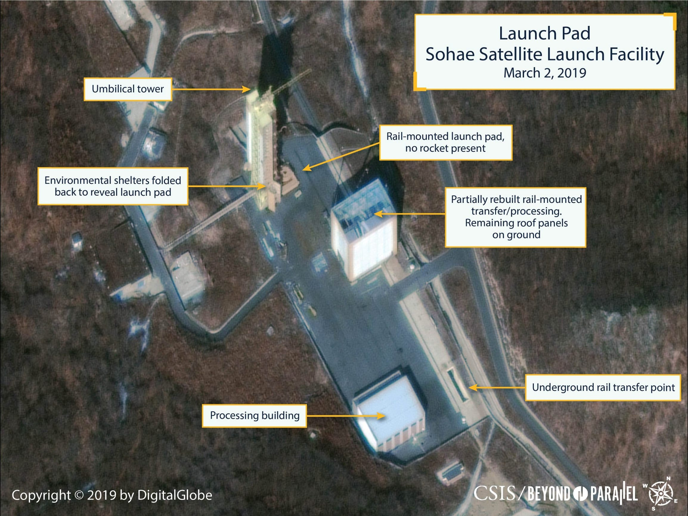 The Sohae Satellite Launching Station launch pad features what researchers of Beyond Parallel, a CSIS project, describe as showing the partially rebuilt rail-mounted rocket transfer structure in a commercial satellite image taken over Tongchang-ri, North Korea on March 2, 2019 and released March 5, 2019.  CSIS/Beyond Parallel/DigitalGlobe 2019 via REUTERS. ATTENTION EDITORS - THIS IMAGE WAS PROVIDED BY A THIRD PARTY. NO SALES. NO ARCHIVES. MANDATORY CREDIT.     TPX IMAGES OF THE DAY