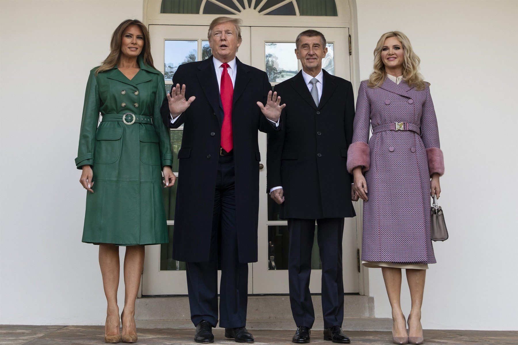 ,   - United States President Donald J. Trump and First Lady Melania Trump pose for a photo with the Prime Minister of the Czech Republic Andrej Babiö and his wife Monika Babiöov· as they arrive at the White House in Washington, D.C. on March 7, 2019., Image: 417982577, License: Rights-managed, Restrictions: , Model Release: no, Credit line: Profimedia, Backgrid USA