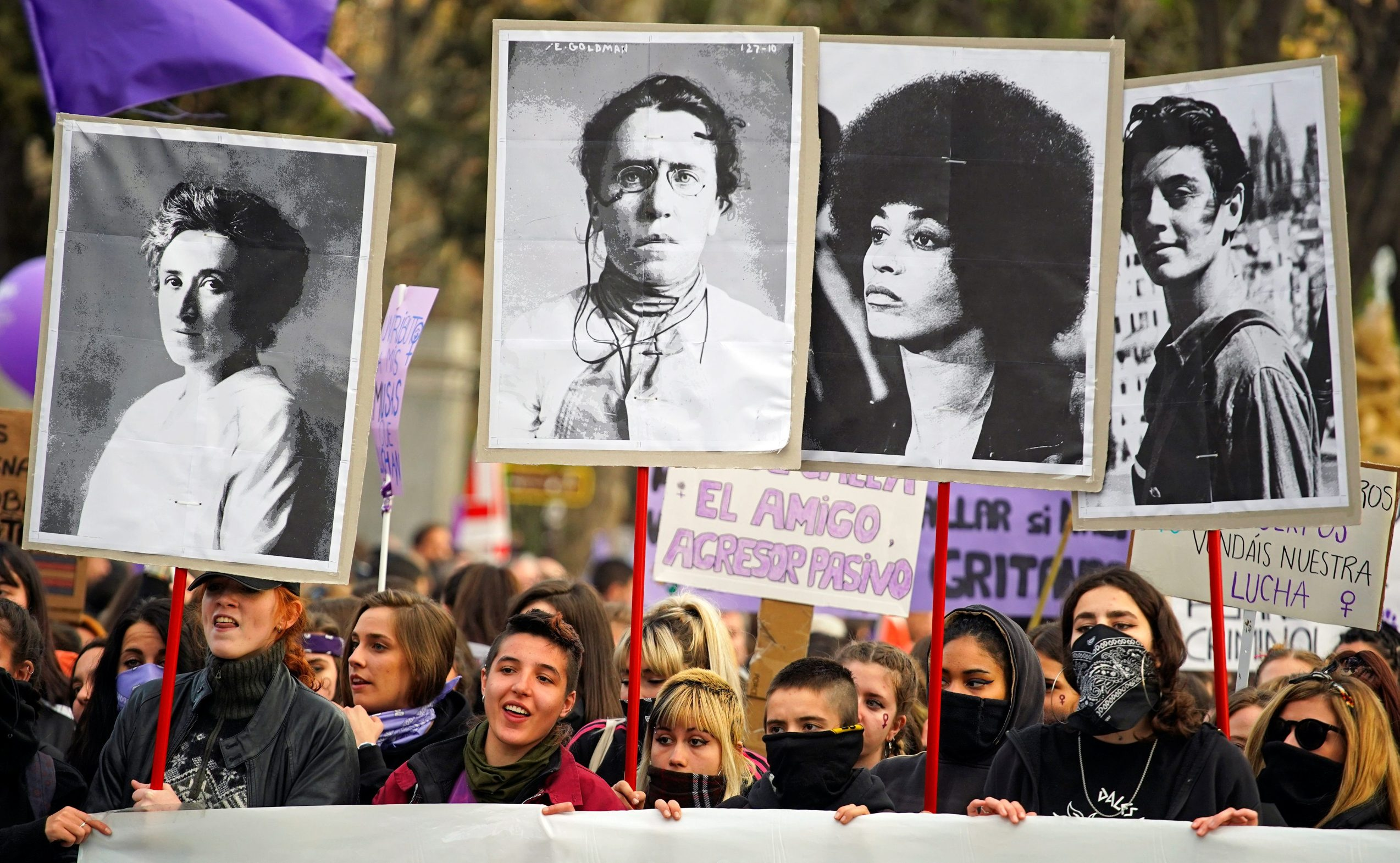 Protesters take part in a demonstration during a nationwide feminist strike on International Women's Day in Madrid, Spain, March 8, 2019.  REUTERS/Juan Medina