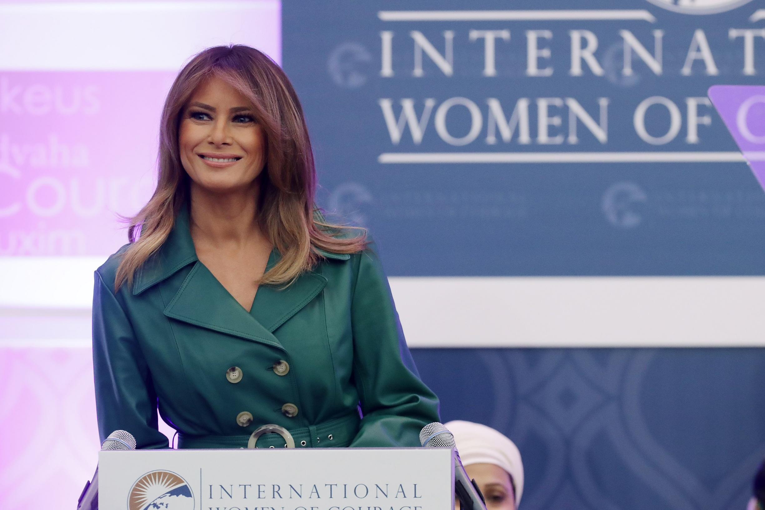WASHINGTON, DC - MARCH 07: First lady Melania Trump delivers remarks during the International Women of Courage Awards in the Dean Acheson Auditorium at the Department of State's Harry S. Truman building March 07, 2019 in Washington, DC. Ten women from all over the world were recognized for their work in human rights, education, journalism, law enforcement and other endeavors that furthered women's rights and representation.  (Photo by Chip Somodevilla/Getty Images)