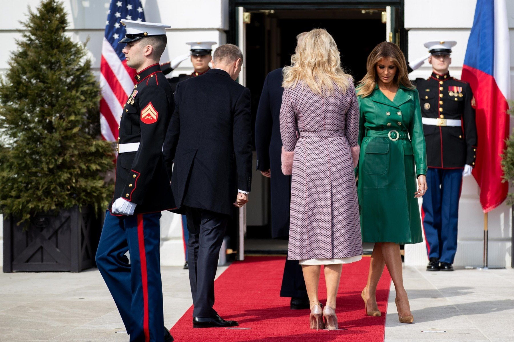Washington, DC  - United States President Donald Trump and First Lady Melania Trump chats before welcoming Czech Republic Prime Minister Andrej Babiš and Mrs. Monika Babišová on the South Portico at White House in Washington, District of Columbia.  Pictured: Mrs. Monika Babisova, First Lady Melania Trump  BACKGRID USA 7 MARCH 2019, Image: 417941058, License: Rights-managed, Restrictions: , Model Release: no, Credit line: Profimedia, Backgrid USA