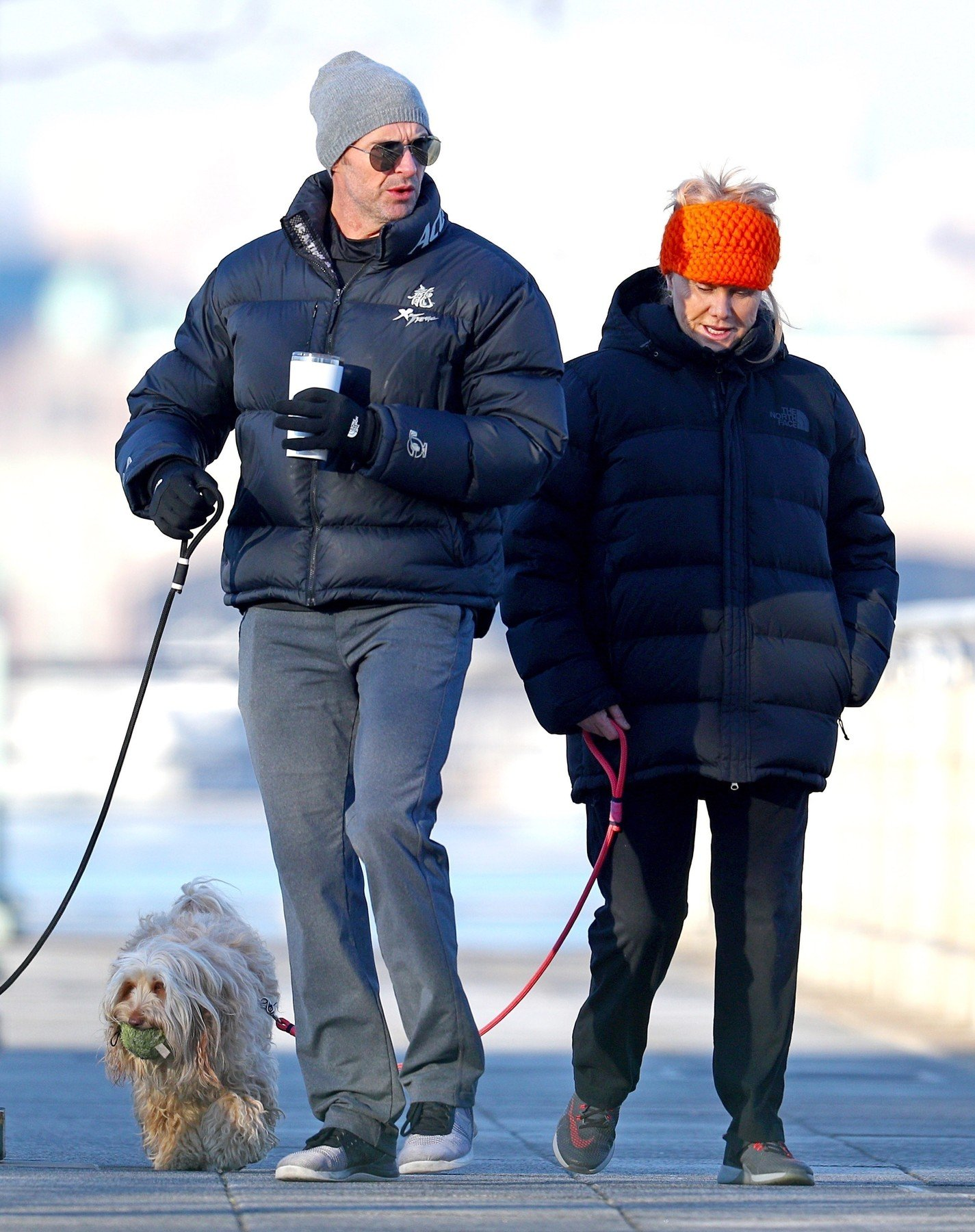 New York, NY  - *EXCLUSIVE*  - Hugh Jackman and his wife Deborra-lee Furness walk their dogs, Dali and Allegra, in NYC on Monday. The two are bundled up in puffer coats for a cold day in the city.  Pictured: Hugh Jackman    *UK Clients - Pictures Containing Children Please Pixelate Face Prior To Publication*, Image: 361752676, License: Rights-managed, Restrictions: , Model Release: no, Credit line: Profimedia, Backgrid USA