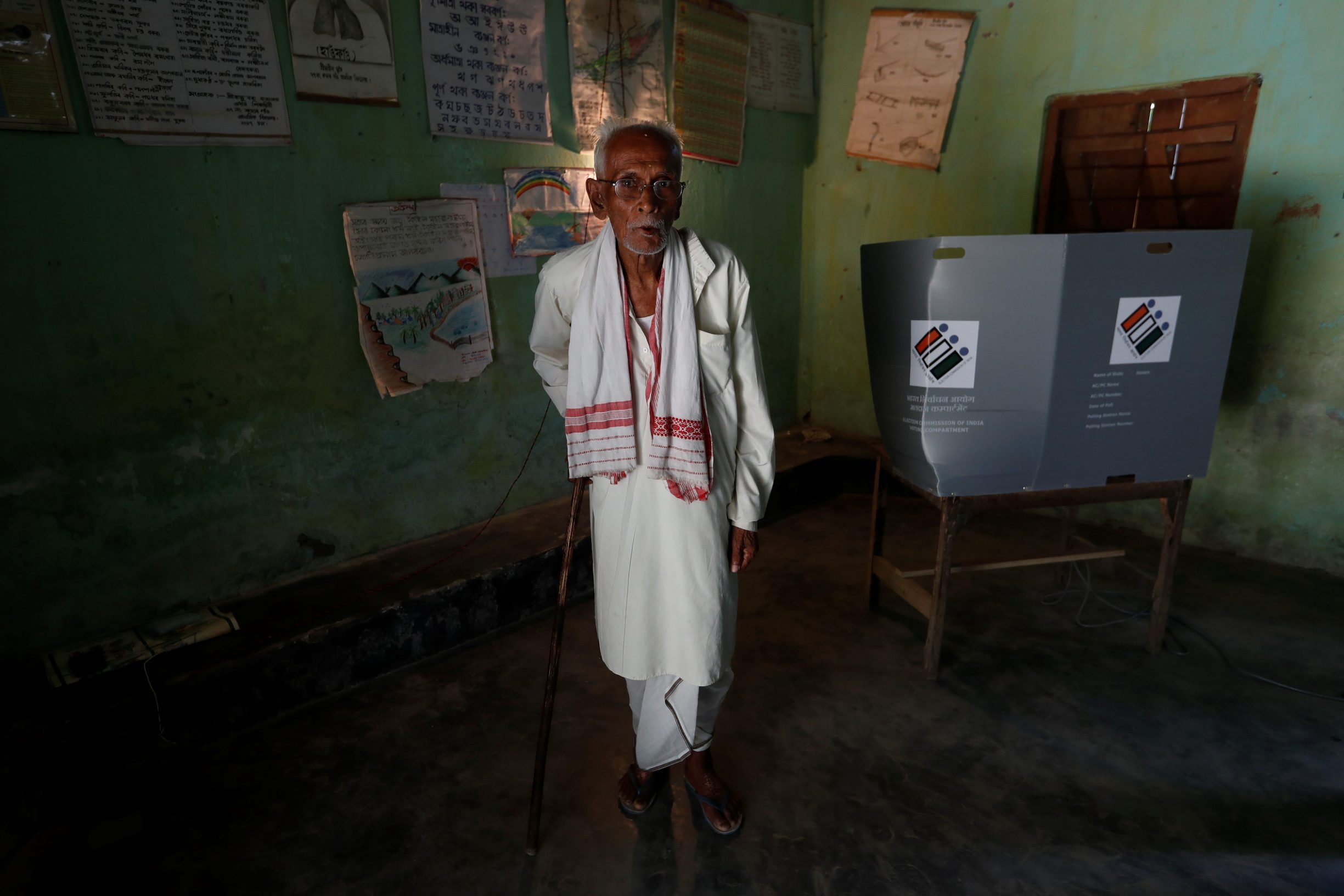 A man leaves after casting his vote at a polling station in Majuli, a large river island in the Brahmaputra river, in the northeastern Indian state of Assam, India April 11, 2019. REUTERS/Adnan Abidi