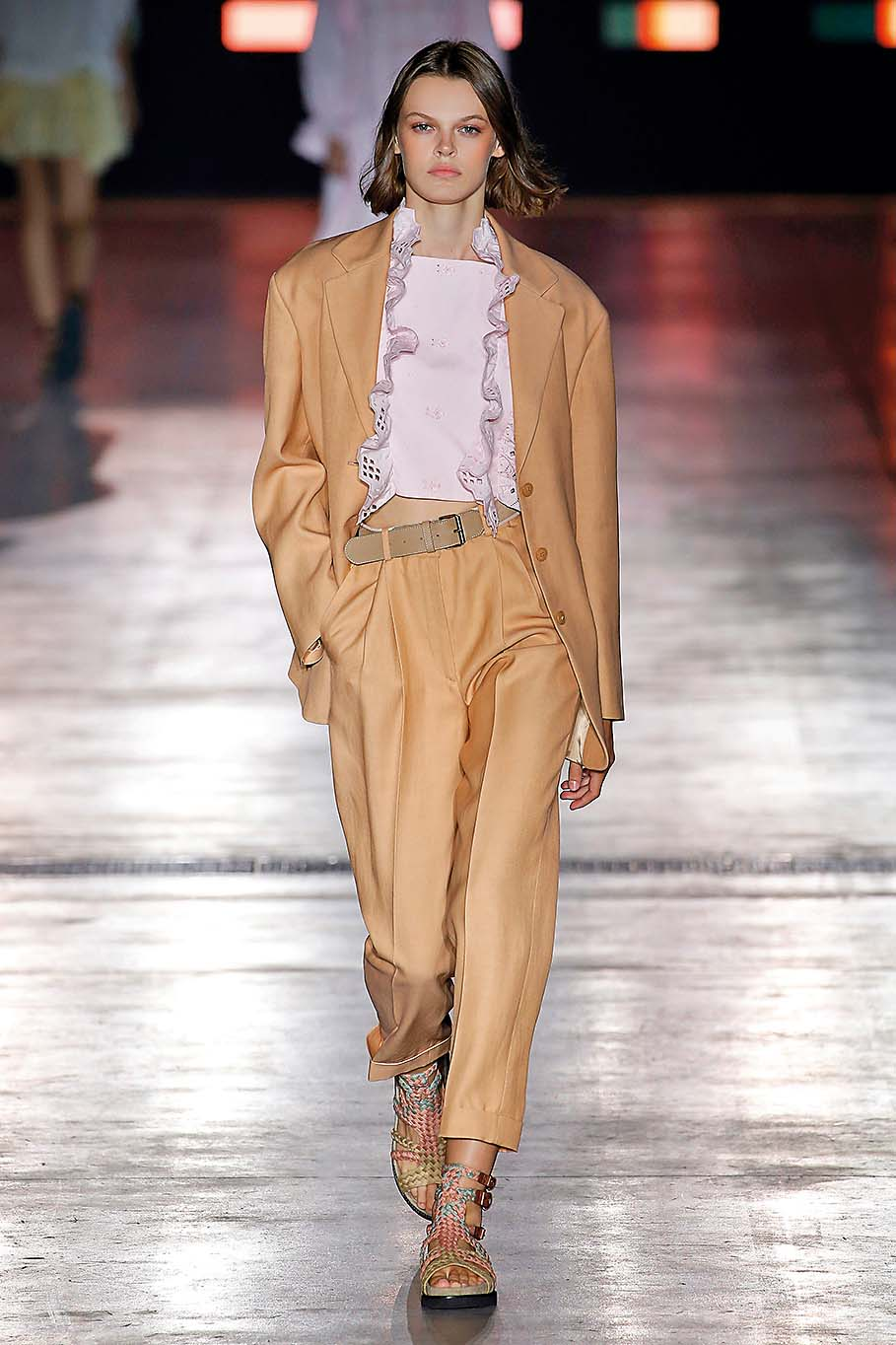 A model walks the runway at the Alberta Ferretti show during Milan Fashion Week Spring/Summer 2019 on September 19, 2018 in Milan, Italy.