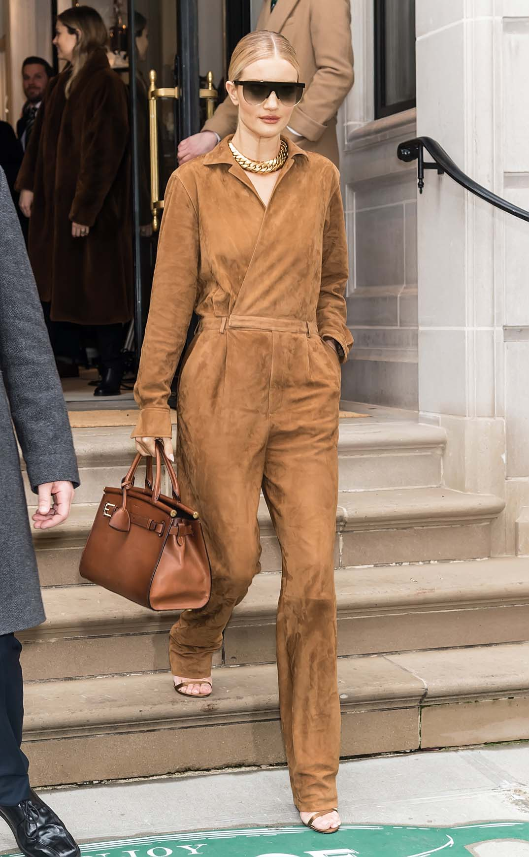 NEW YORK, NY - FEBRUARY 07:  Model, actress Rosie Huntington-Whiteley is seen leaving Ralph Lauren Spring/Summer 2019 fashion show during New York Fashion Week at Ralph's Coffee at Ralph Lauren Flagship store on 888 Madison Avenue on February 7, 2019 in New York City.  (Photo by Gilbert Carrasquillo/GC Images)