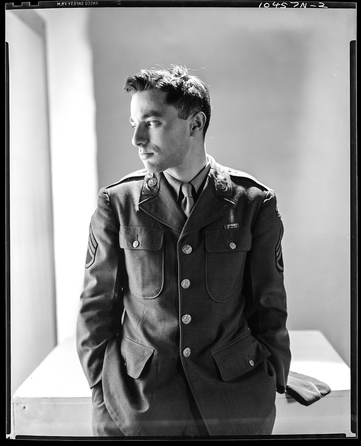 Sergeant Walter Bernstein, writer and film producer, in US Army uniform. (Photo by Clifford Coffin/Conde Nast via Getty Images)