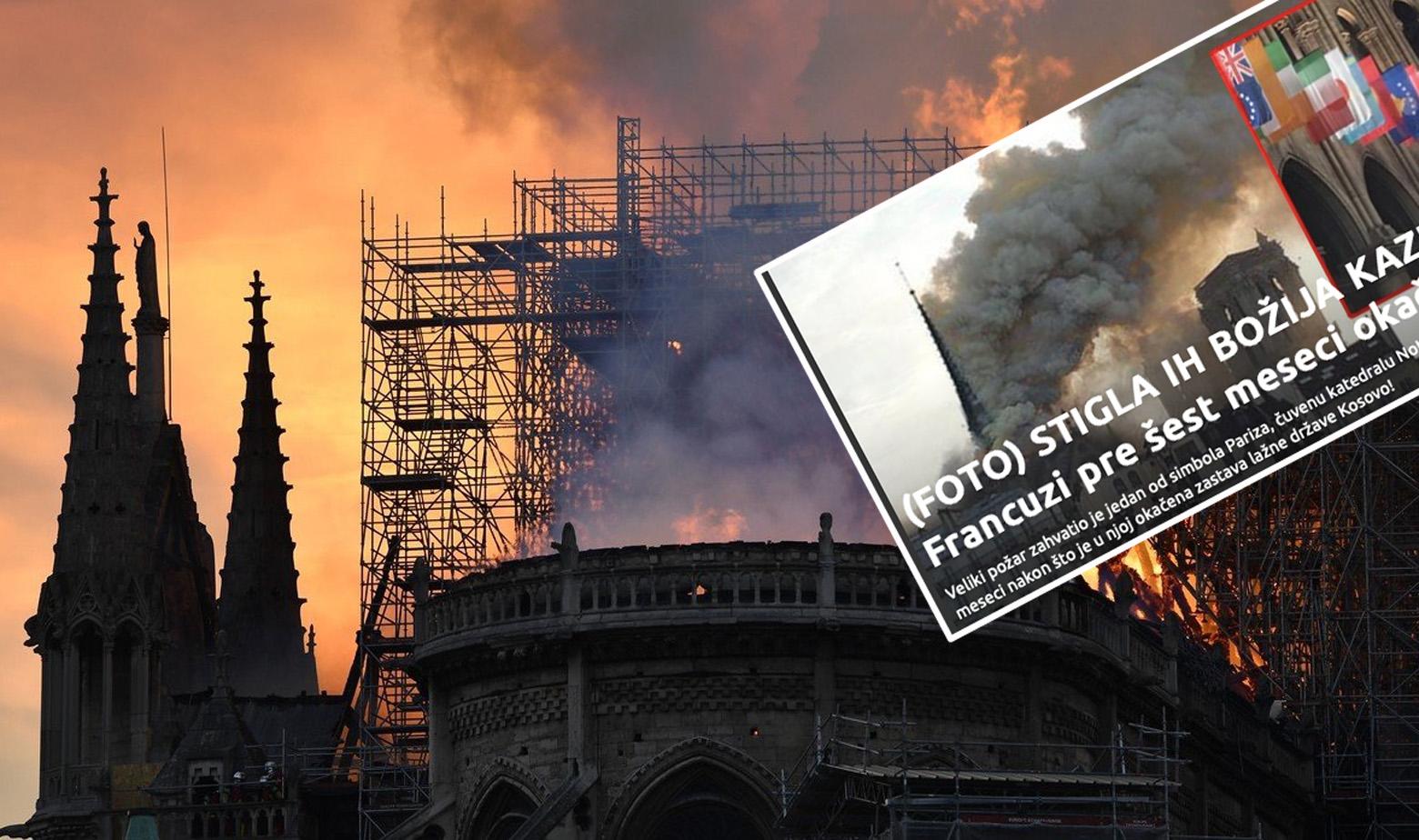 Notre-Dame u plamenu i naslovnica Informera sa strane