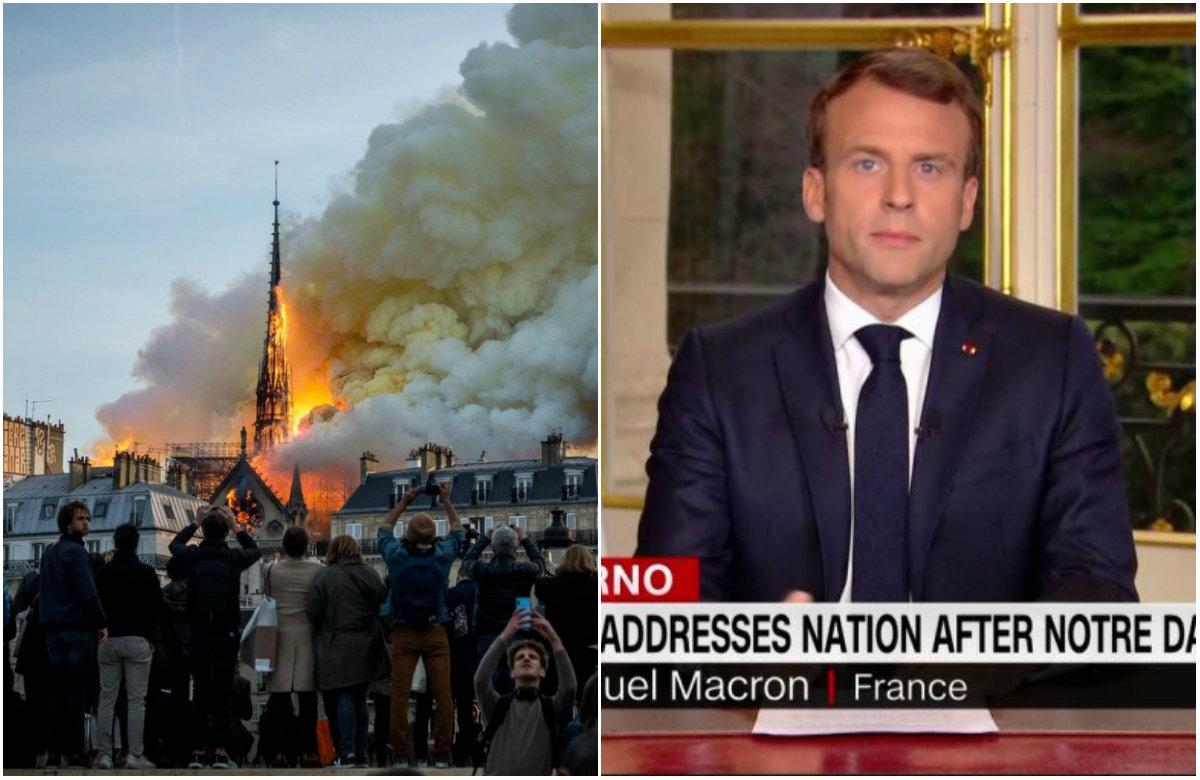 Požar u Notre-Dameu, Emmanuel Macron