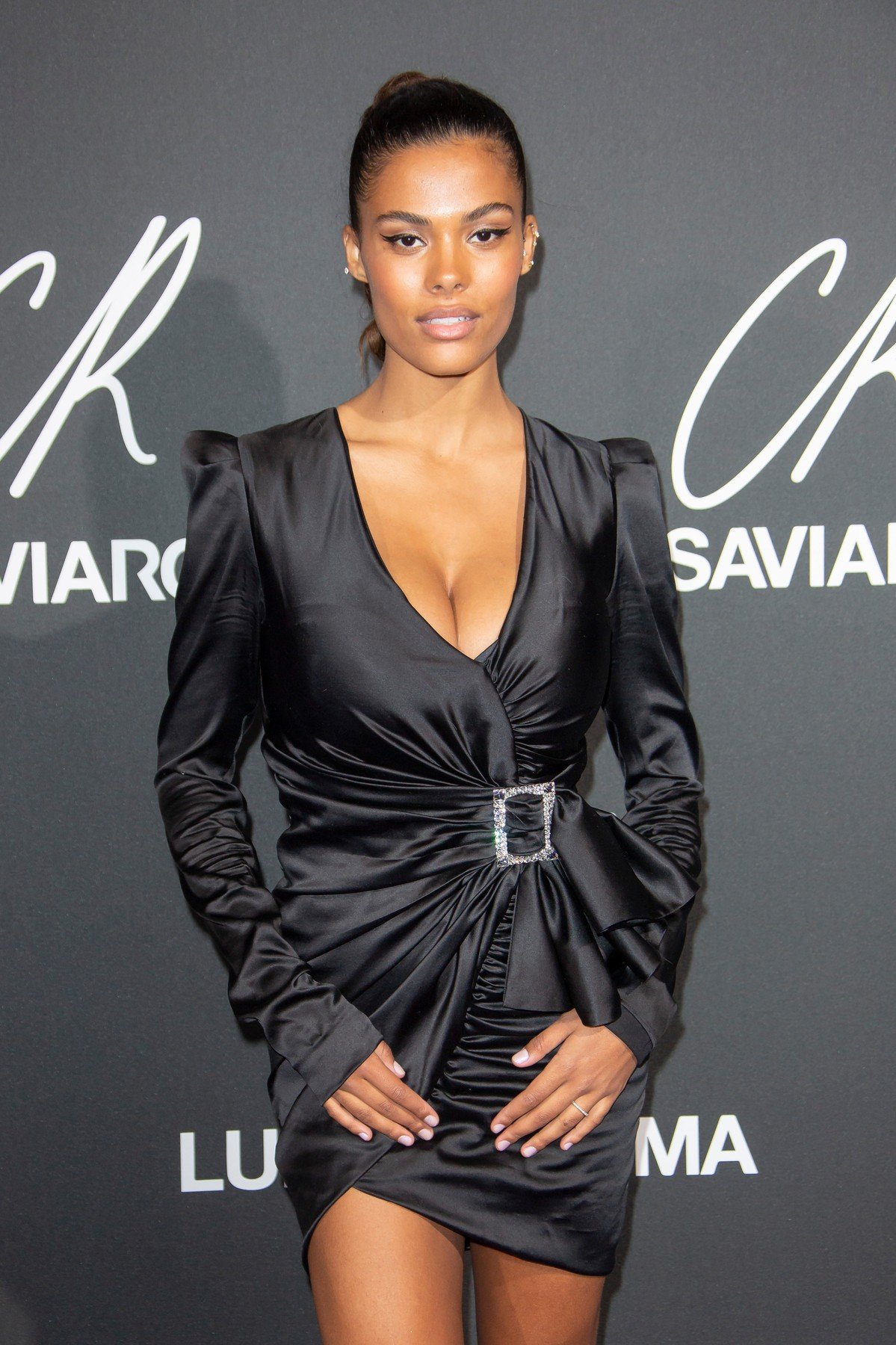 Tina Kunakey attends the CR Fashion Book x Luisasaviaroma : Photocall as part of the Paris Fashion Week Womenswear Spring/Summer 2019 on October 1, 2018 in Paris, France., Image: 389396304, License: Rights-managed, Restrictions: , Model Release: no, Credit line: Profimedia, KCS Presse