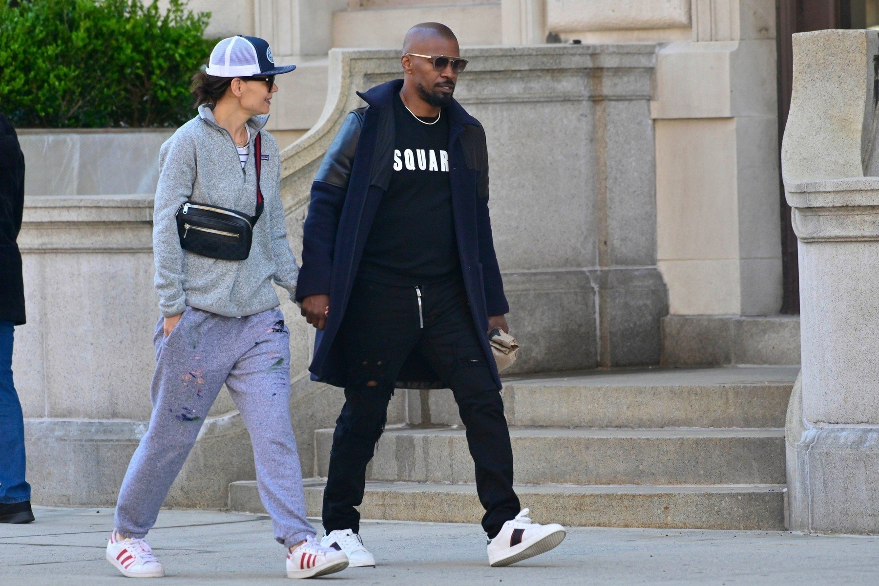 ** RIGHTS: WORLDWIDE EXCEPT IN FRANCE, GERMANY, POLAND ** New York, NY  - *EXCLUSIVE*  - Katie Holmes and Jamie Foxx show their love for each other as they hold hands after brunch. The duo are seen heading to Katie's apartment.  Pictured: Jamie Foxx, Katie Holmes  BACKGRID USA 16 APRIL 2019, Image: 426442997, License: Rights-managed, Restrictions: , Model Release: no, Credit line: Profimedia, Backgrid USA
