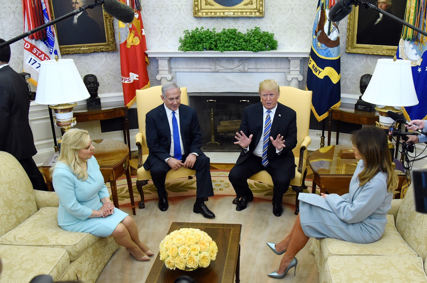 United States President Donald J. Trump and first lady Melania Trump meet with Prime Minister Benjamin Netanyahu and Sara Netanyahu of Israel in the Oval Office of the White House in Washington, DC, March 5, 2018., Image: 365199337, License: Rights-managed, Restrictions: , Model Release: no, Credit line: Profimedia, ADMedia
