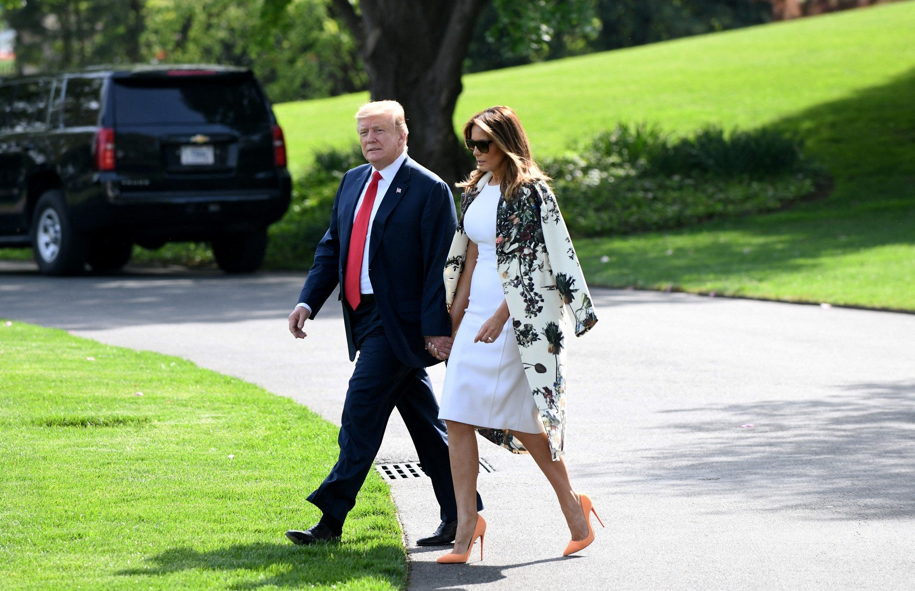 US President Donald Trump and first lady Melania Trump depart the White House on April 18, 2019 in Washington D.C., Image: 426831564, License: Rights-managed, Restrictions: , Model Release: no, Credit line: Profimedia, Abaca Press
