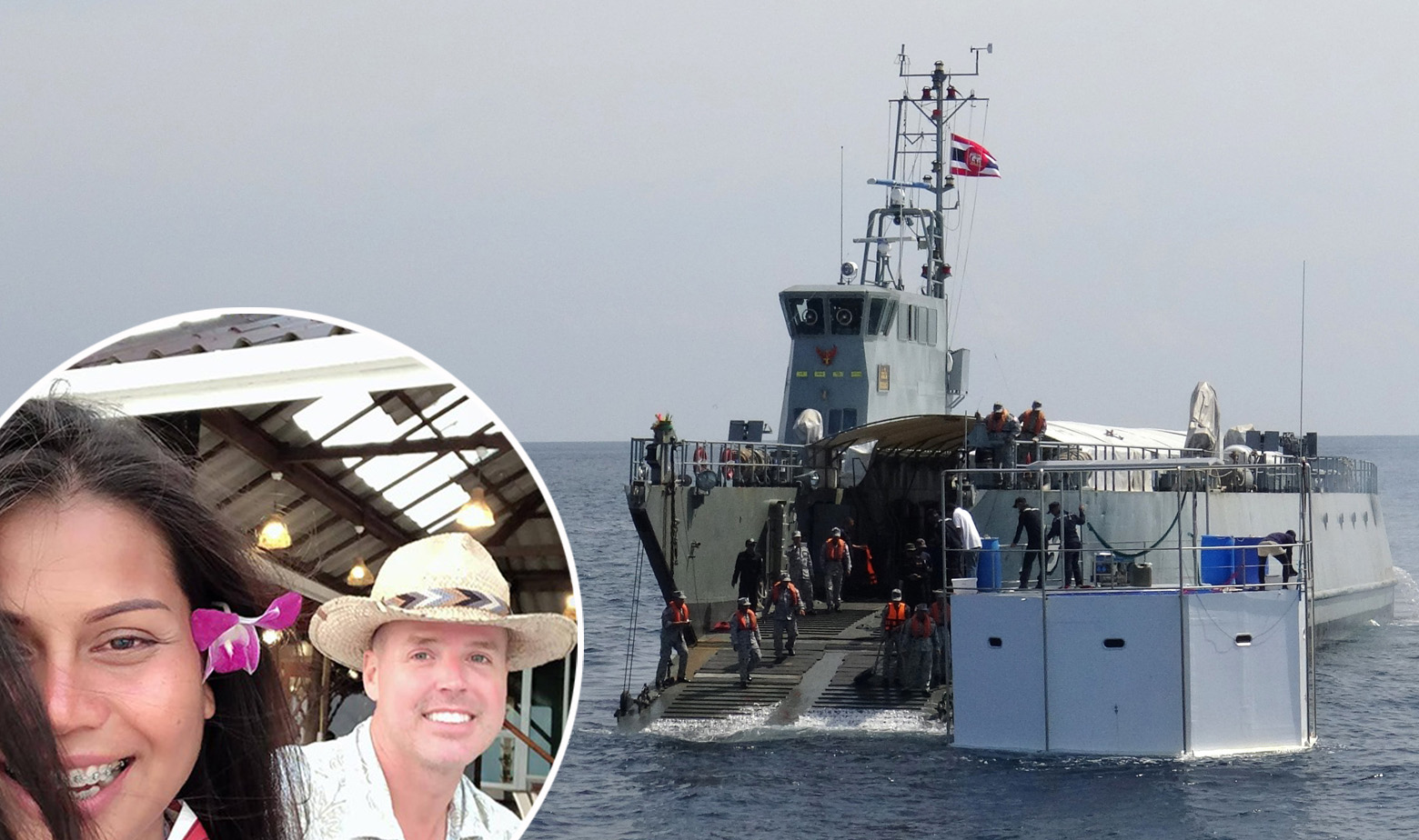 Chad Elwartowski, Nadia Supranee Thepdet i brod tajlandske mornarice koji tegli njihov morski dom