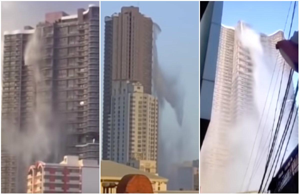 Nakon snažnog zemljotresa se izlijeva voda iz bazena na vrhu nebodera u Manilli
