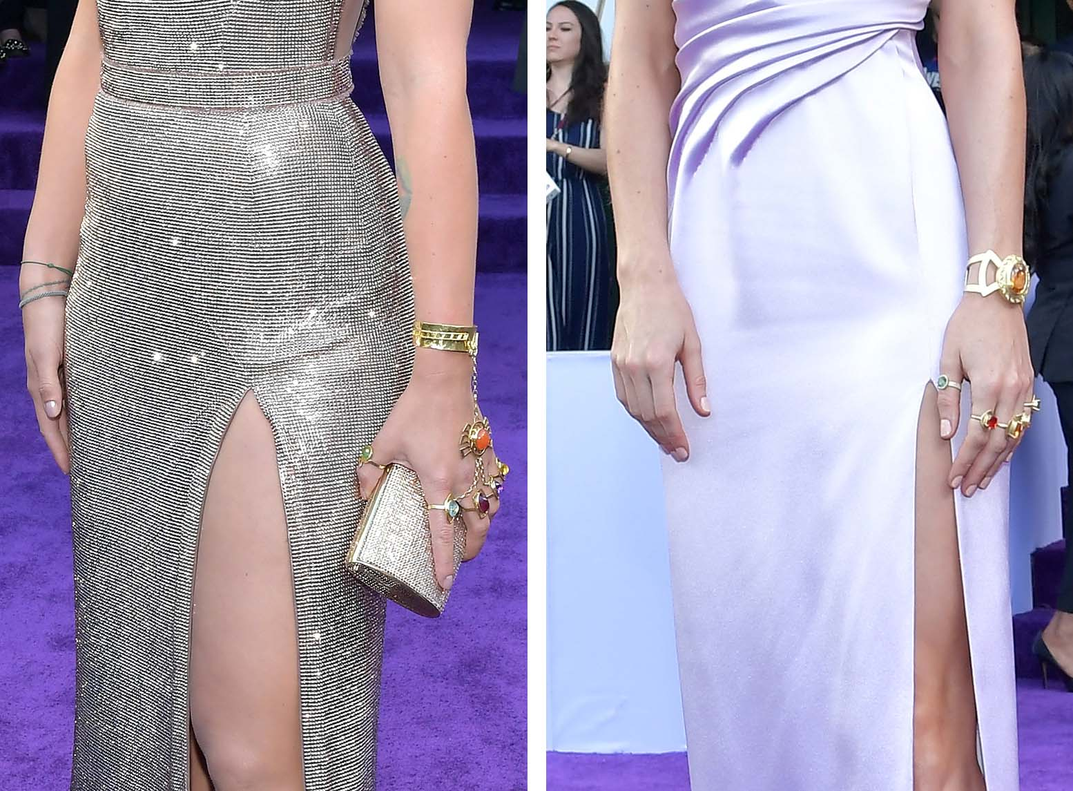 LOS ANGELES, CA - APRIL 22:  In this composite image a comparison has been made between the jewelry (ring detail) of 'infinite stones' worn by Scarlett Johansson (L) and Brie Larson at the world premiere of Walt Disney Studios Motion Pictures