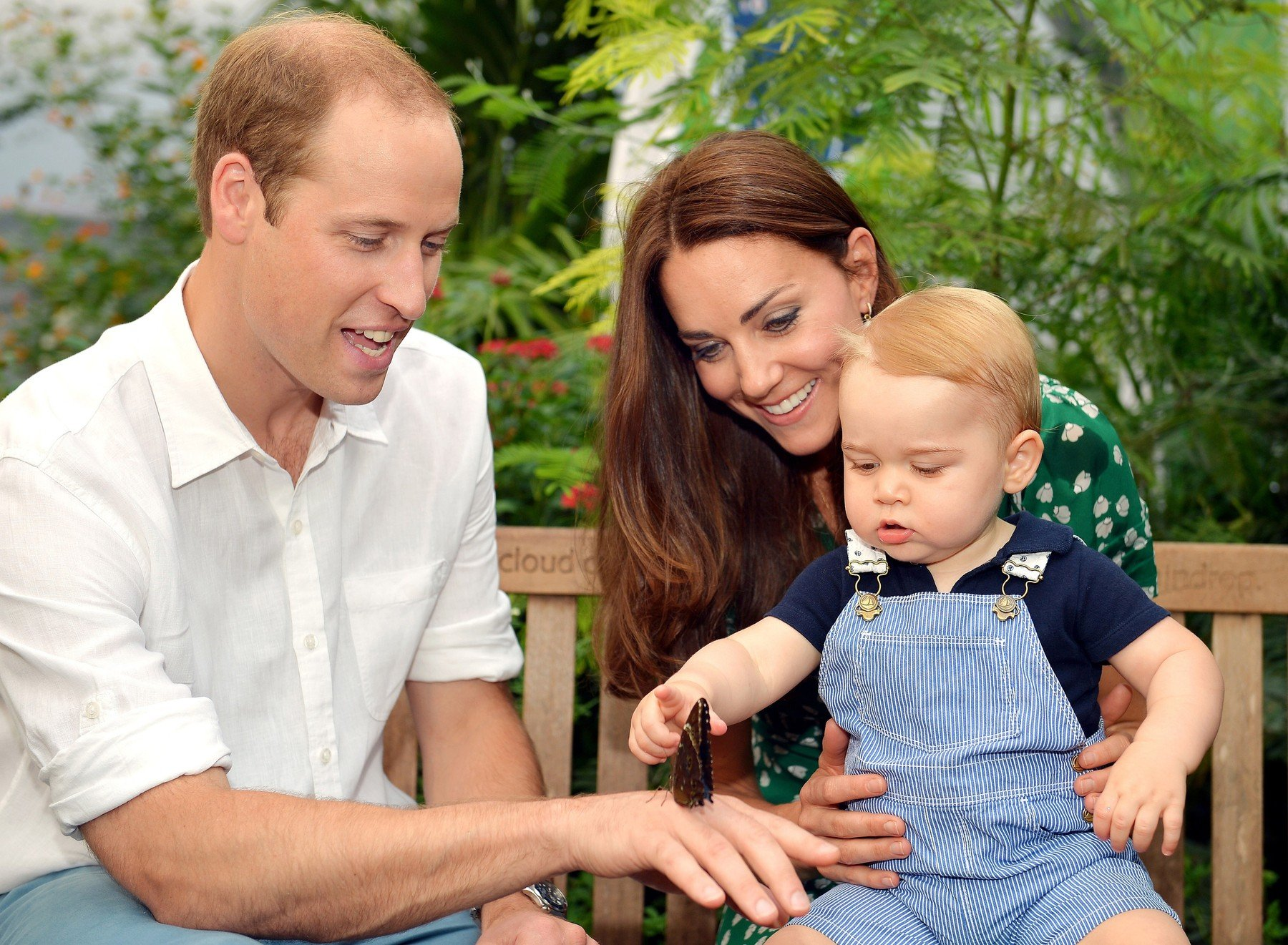 This photo dated Wednesday July 2, 2014, was taken to mark Prince George's first birthday and shows the Duke and Duchess of Cambridge and the Prince during a visit to the Sensational Butterflies exhibition at the Natural History Museum, London., Image: 199570494, License: Rights-managed, Restrictions: NO UK USE  FOR 48 HOURS - Fee Payable Upon Reproduction - For queries contact Photoshot - sales@photoshot.com  London: +44 (0) 20 7421 6000  Florida: +1 239 689 1883  Berlin: +49 (0) 30 76 212 251, Model Release: no, Credit line: Profimedia, UPPA News