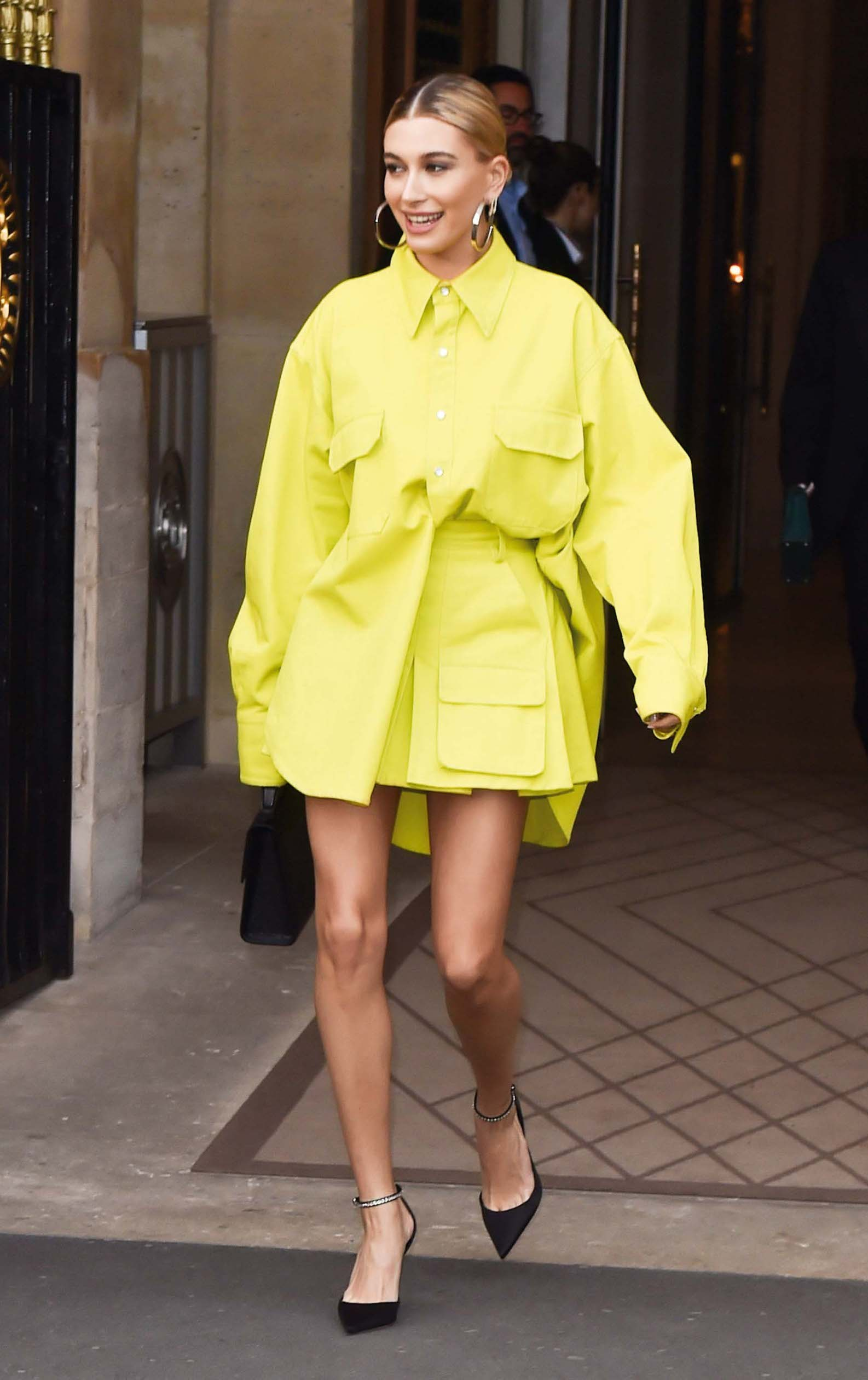 Hailey Baldwin arrives at a Vogue party in Paris dressed in Yellow. 03 Mar 2019, Image: 417012523, License: Rights-managed, Restrictions: World Rights, Model Release: no, Credit line: Profimedia, Mega Agency