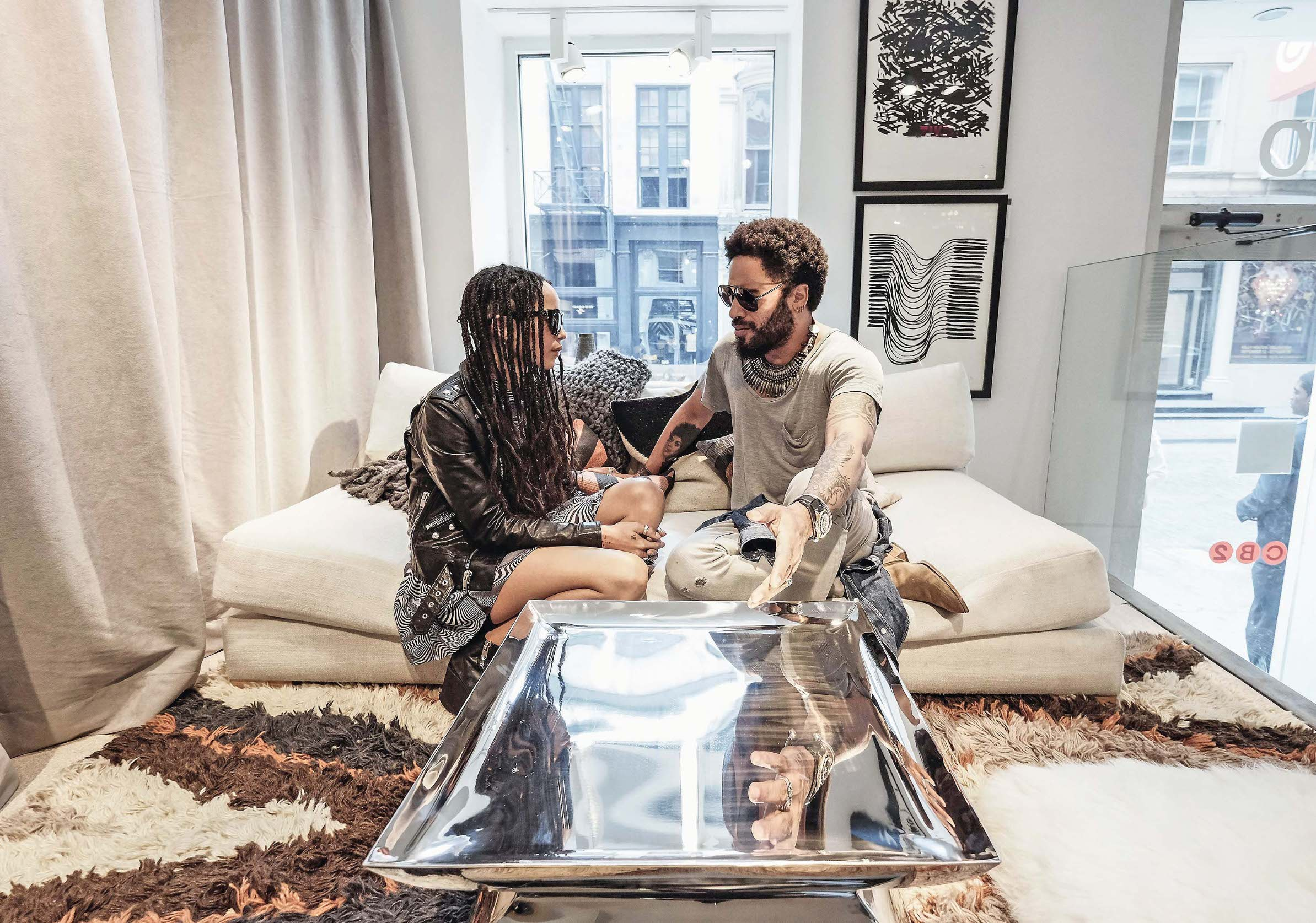 NEW YORK, NY - SEPTEMBER 22:  Lenny Kravitz is seen with his daughter Zoe Kravitz as he celebrates the launch of CB2 x Kravitz Design by Lenny Kravitz at the CB2 Soho store on September 22, 2015 in New York City.  (Photo by Dimitrios Kambouris/Getty Images for CB2)