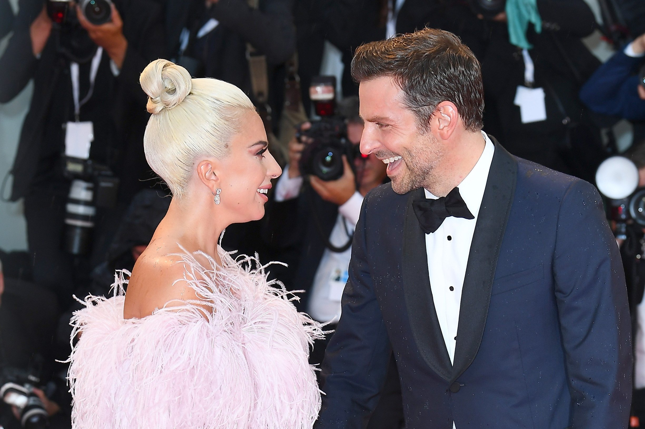 NON EXCLUSIVE PICTURE: MATRIXPICTURES.CO.UK PLEASE CREDIT ALL USES  WORLD RIGHTS  Lady Gaga and Bradley Cooper attend the 75th Venice Film Festival screening of A Star Is Born at Palazzo del Casino in Venice.  AUGUST 31st 2018  REF: PTY 183013, Image: 384873498, License: Rights-managed, Restrictions: , Model Release: no, Credit line: Profimedia, Matrixpictures UK
