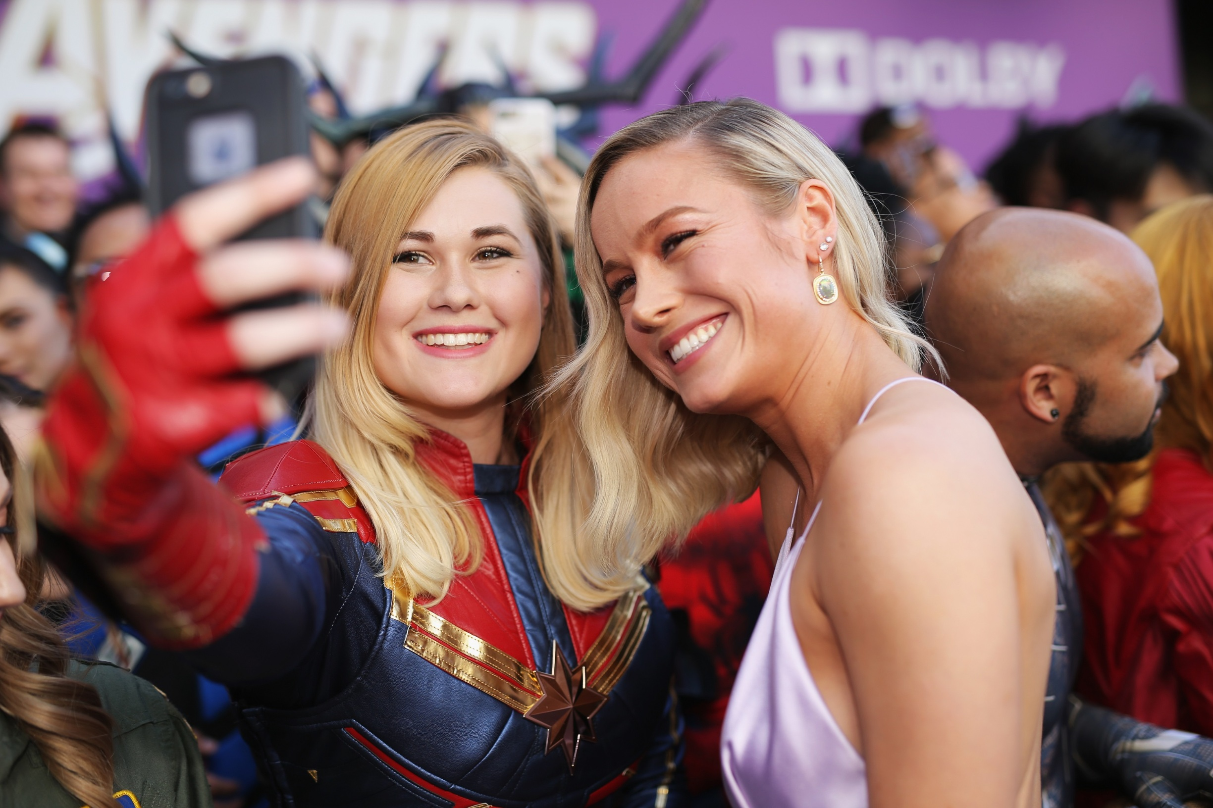 LOS ANGELES, CA - APRIL 22:  Brie Larson (R) attends the Los Angeles World Premiere of Marvel Studios'