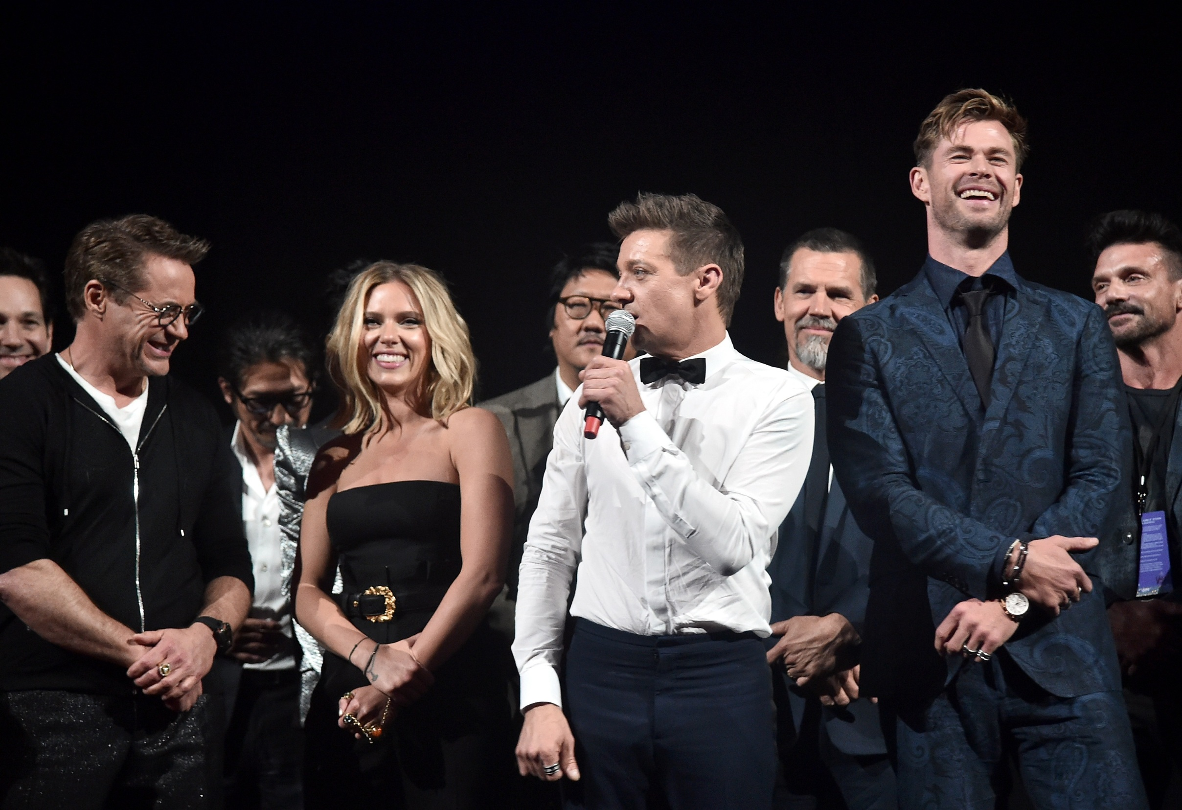 LOS ANGELES, CA - APRIL 22:  (L-R) Robert Downey Jr., Scarlett Johansson, Jeremy Renner, and Chris Hemsworth speak onstage during the Los Angeles World Premiere of Marvel Studios'