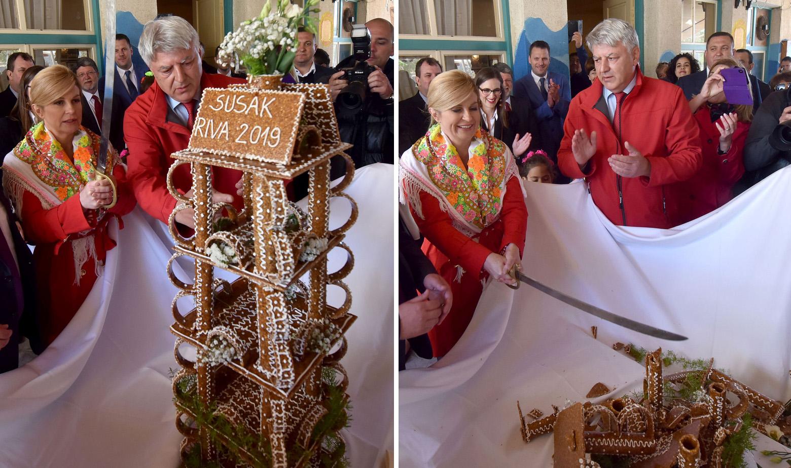 Predsjednica Kolinda Grabar Kitarović sabljom je presjekla slatki lošinjski krokant