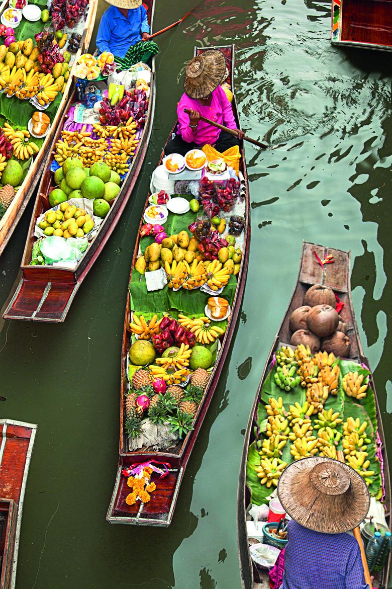 floating boats at floating market