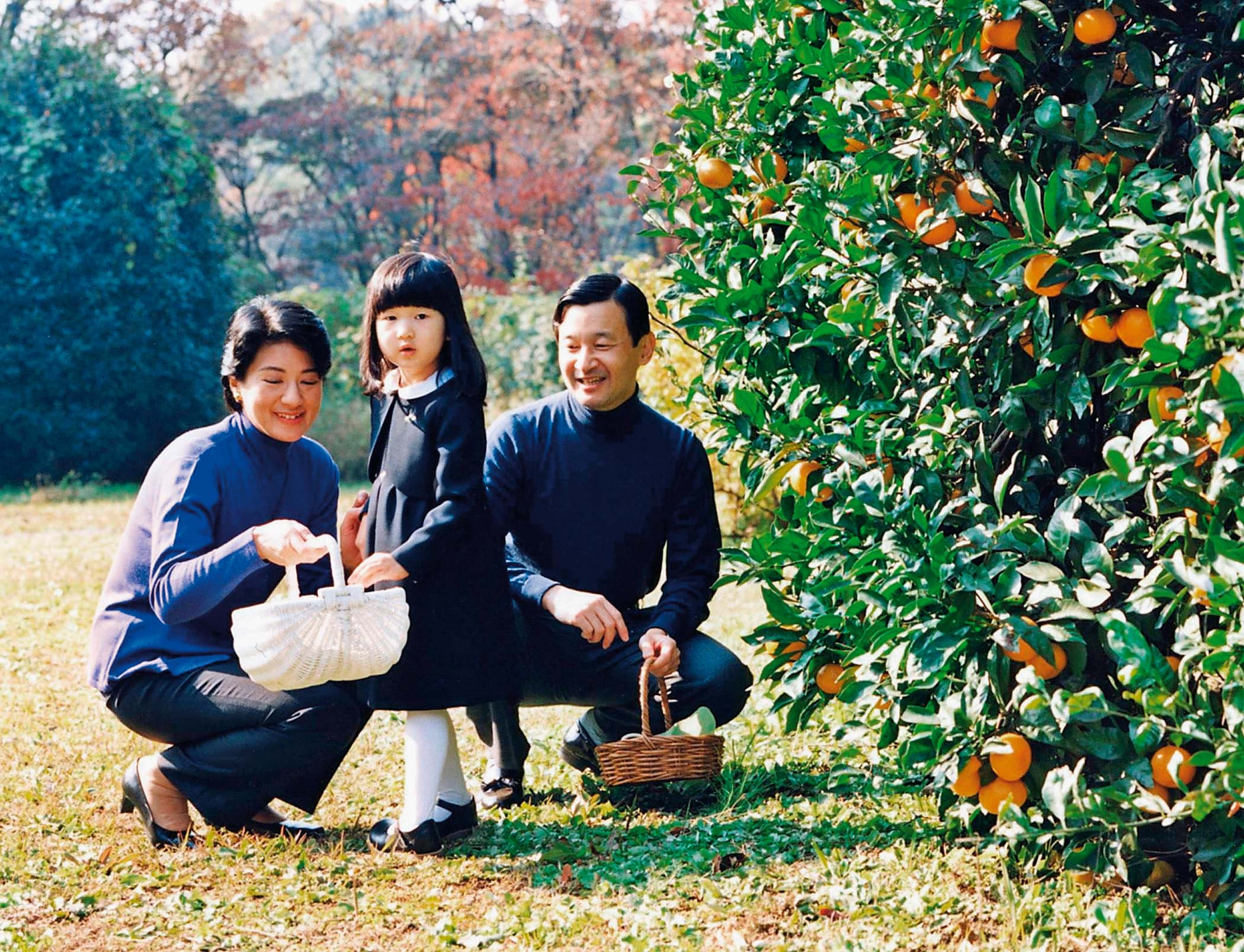 TOKYO - NOVEMBER 30: (EDITORIAL USE ONLY) In this Handout Photo released on December 1, 2005 by the Imperial Household Agency, Japan's Princess Aiko (C) enjoys picking mandarin oranges with her parents, Crown Prince Naruhito and Crown Princess Masako, during a stroll through their Togu Palace residence garden on November 30, 2005 in Tokyo, Japan. Aiko, the only child of Japan's imperial heir Crown Prince Naruhito, celebrates her fourth birthday today. (Photo by The Imperial Household Agency via Getty Images)