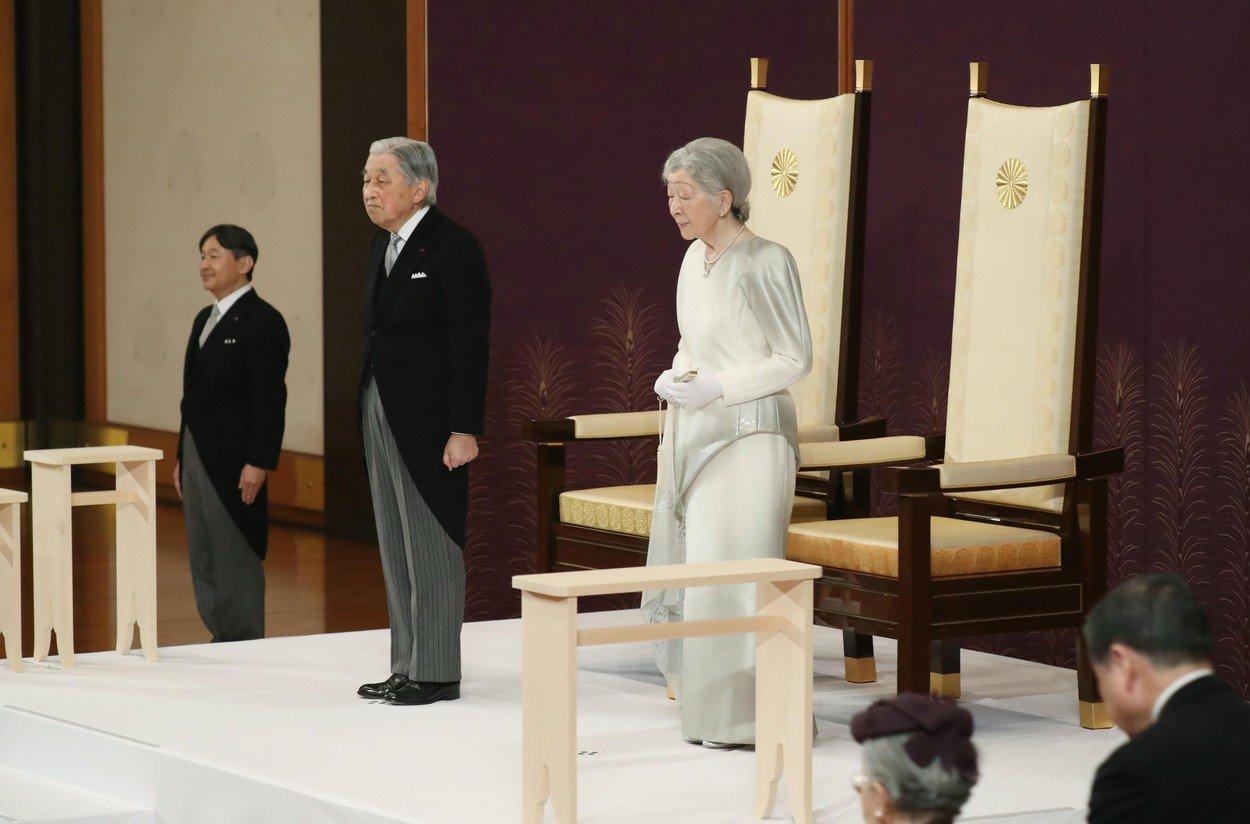 Japanese Emperor Akihito and Empress Michiko attend the