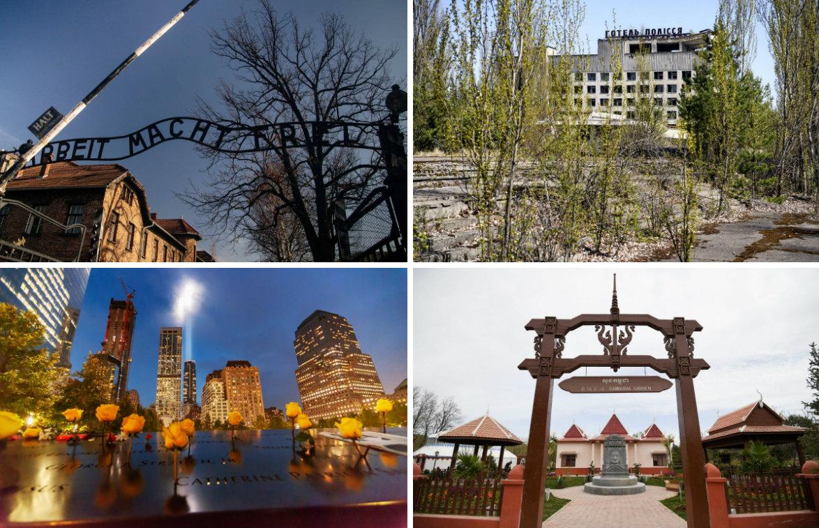Auschwitz, Černobil, New York, Kambodža