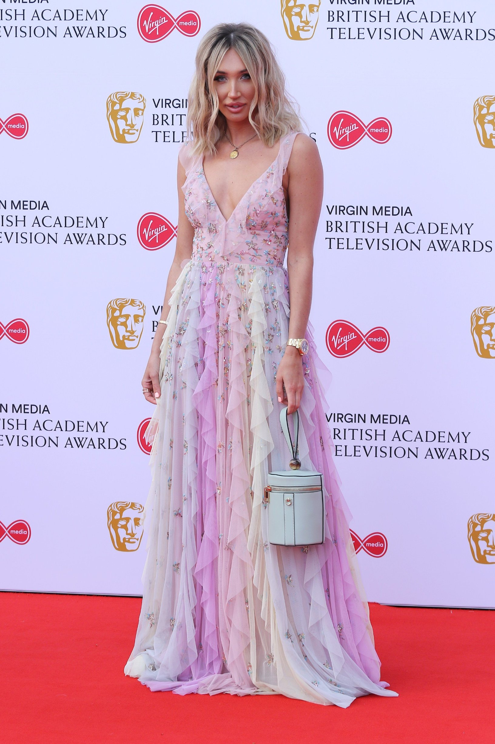 NON-EXCLUSIVE PICTURE: MATRIXPICTURES.CO.UK PLEASE CREDIT ALL USES  WORLD RIGHTS  Megan McKenna attending the BAFTA Television Awards at the Royal Festival Hall, London, UK.  MAY 12th 2019  REF: MES 191630, Image: 432696361, License: Rights-managed, Restrictions: , Model Release: no, Credit line: Profimedia, Matrixpictures UK