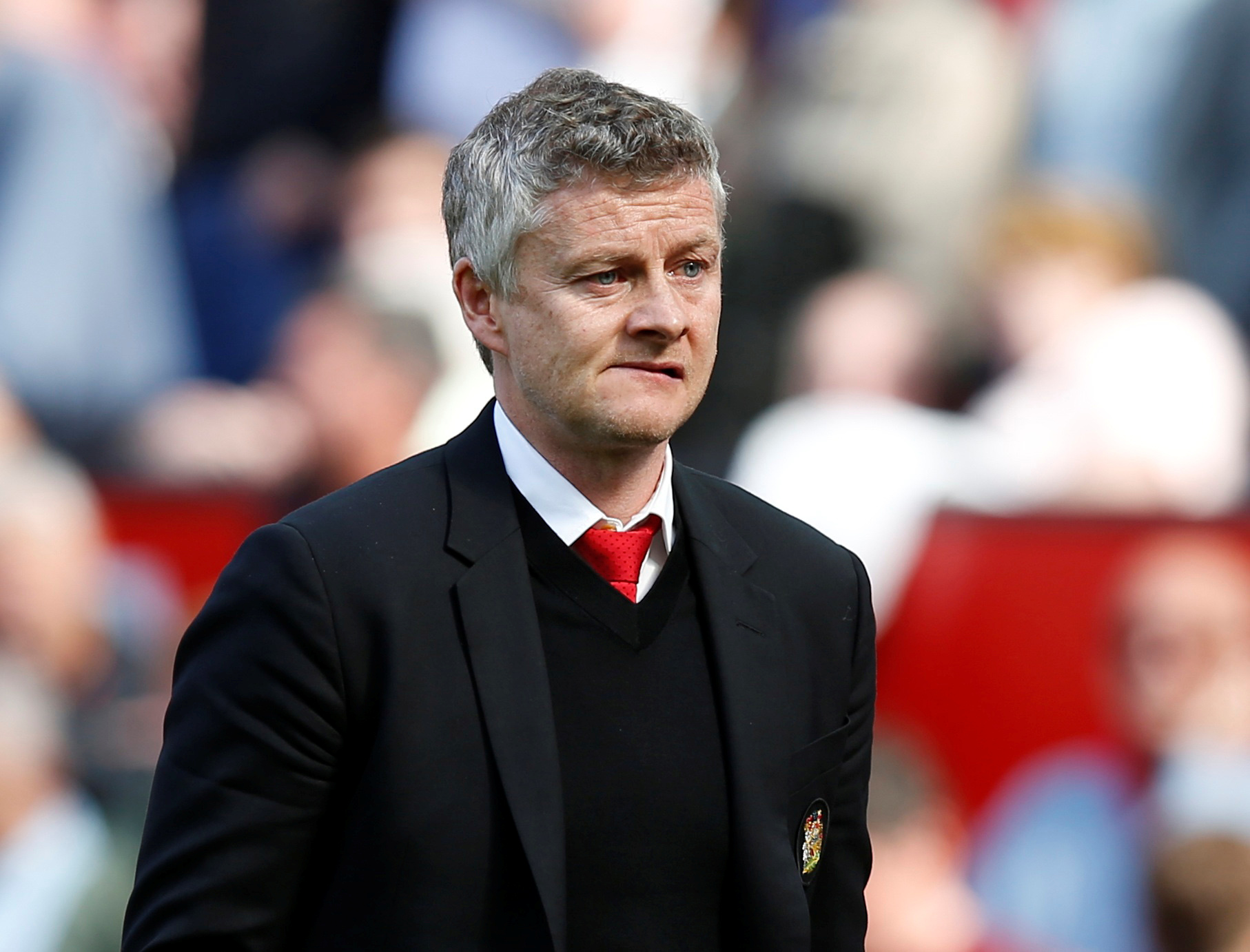 Soccer Football - Premier League - Manchester United v Cardiff City - Old Trafford, Manchester, Britain - May 12, 2019  Manchester United manager Ole Gunnar Solskjaer reacts during the match      REUTERS/Andrew Yates  EDITORIAL USE ONLY. No use with unauthorized audio, video, data, fixture lists, club/league logos or