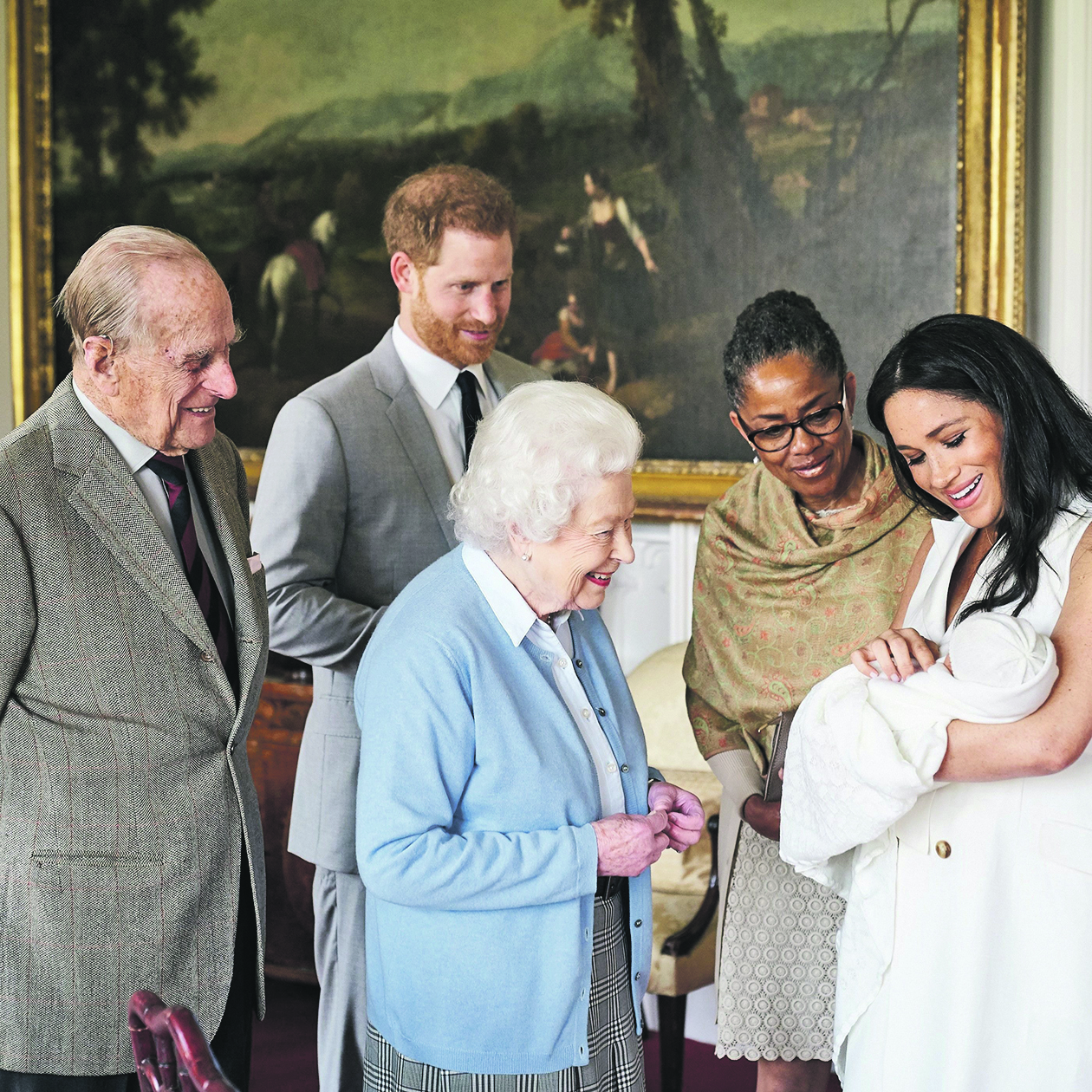 Britain's Prince Harry and Meghan, Duchess of Sussex are joined by her mother, Doria Ragland, as they show their new son, born on Monday and named as Archie Harrison Mountbatten-Windsor, to the Queen Elizabeth II and the Duke of Edinburgh at Windsor Castle, Britain May 8, 2019 in this image released on May 8, 2019.  Chris Allerton/Copyright SussexRoyal/Pool via REUTERS The photograph must not be digitally enhanced, manipulated or modified in any manner or form and must include all of the individuals in the photograph when published. NO COMMERCIAL OR BOOK SALES. NO SALES. NO RESALES. NO ARCHIVES. NOT FOR SALE FOR MARKETING OR ADVERTISING CAMPAIGNS. MANDATORY CREDIT .THIS IMAGE HAS BEEN SUPPLIED BY A THIRD PARTY. NO THIRD PARTY SALES. NOT FOR USE BY REUTERS THIRD PARTY DISTRIBUTORS. TEMPLATE OUT. NEWS EDITORIAL USE ONLY. NO COMMERCIAL USE. NO MERCHANDISING, ADVERTISING, SOUVENIRS, MEMORABILIA OR COLOURABLY SIMILAR. NOT FOR USE AFTER FRIDAY JUNE 7, 2019 WITHOUT PRIOR PERMISSION FROM KENSINGTON PALACE.