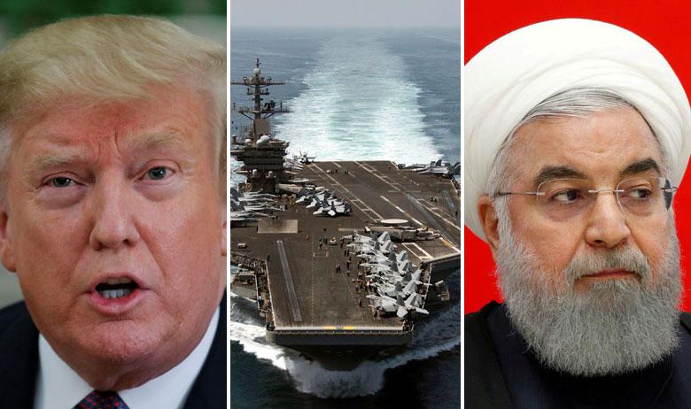 Predsjednik SAD-a Donald Trump, američki nosač aviona i iranski predsjednik Hasan Rohani