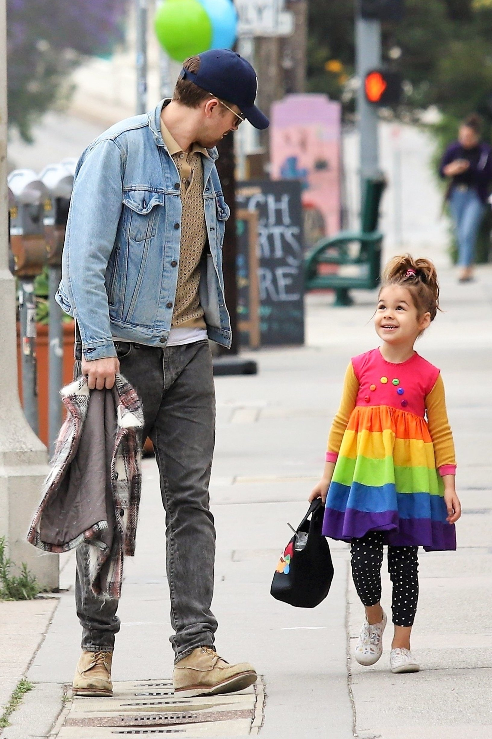 Los Angeles, CA  - *EXCLUSIVE*  - Actor Ryan Gosling takes a stroll with his little one Esmeralda Gosling. The little bundle of sunshine dons a cute rainbow striped dress with polka dotted pants. Ryan keeps things casual in a light blue denim jacket and faded black pants.  Pictured: Ryan Gosling    *UK Clients - Pictures Containing Children Please Pixelate Face Prior To Publication*, Image: 432921277, License: Rights-managed, Restrictions: , Model Release: no, Credit line: Profimedia, Backgrid USA