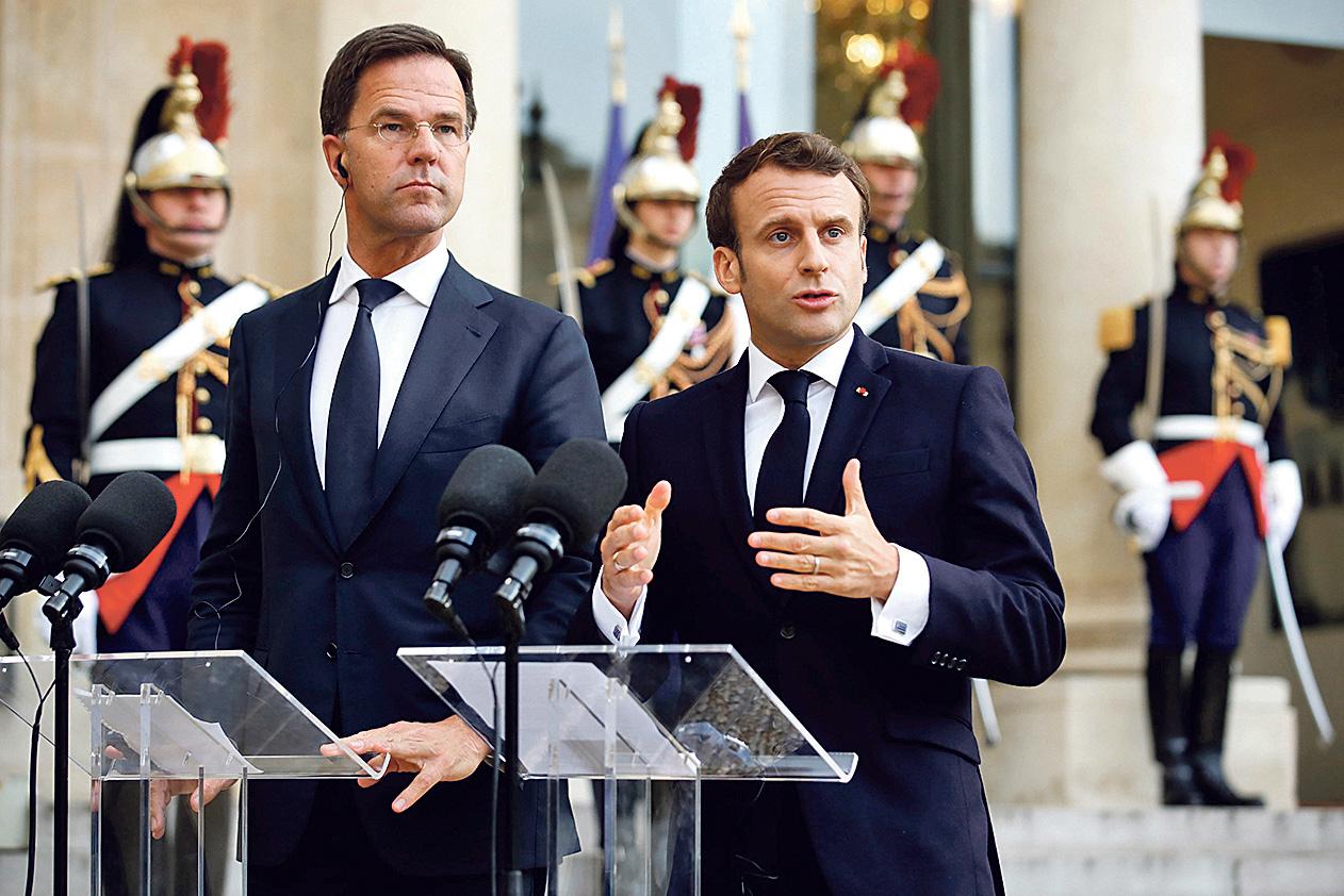 Mark Rutte i Emmanuel Macron