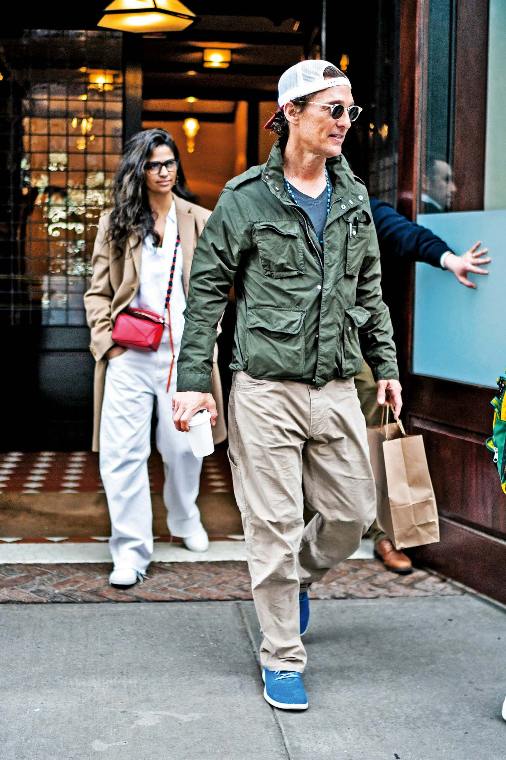 NEW YORK, NEW YORK - APRIL 18: Camila Alves and Matthew McConaughey are seen in Tribeca on April 18, 2019 in New York City. (Photo by Gotham/GC Images)
