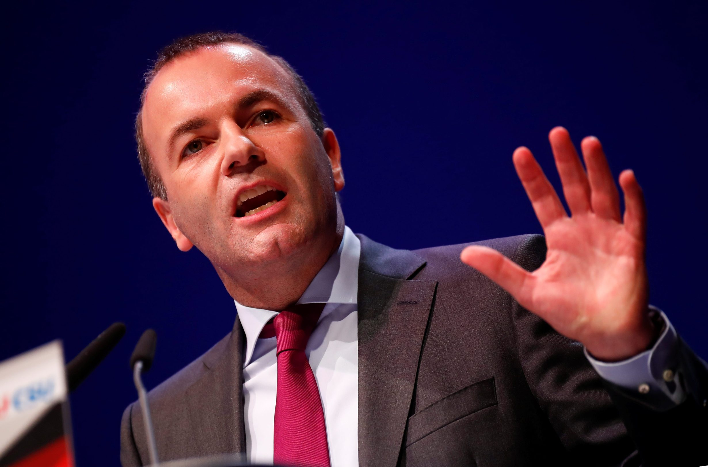 Manfred Weber, the EU candidate of the two German conservative sister parties Christian Democratic Union party CDU and Bavaria's Christian Social Union party CSU speaks during their kickoff campaign for the European elections in Muenster, Germany, April 27, 2019. REUTERS/Wolfgang Rattay