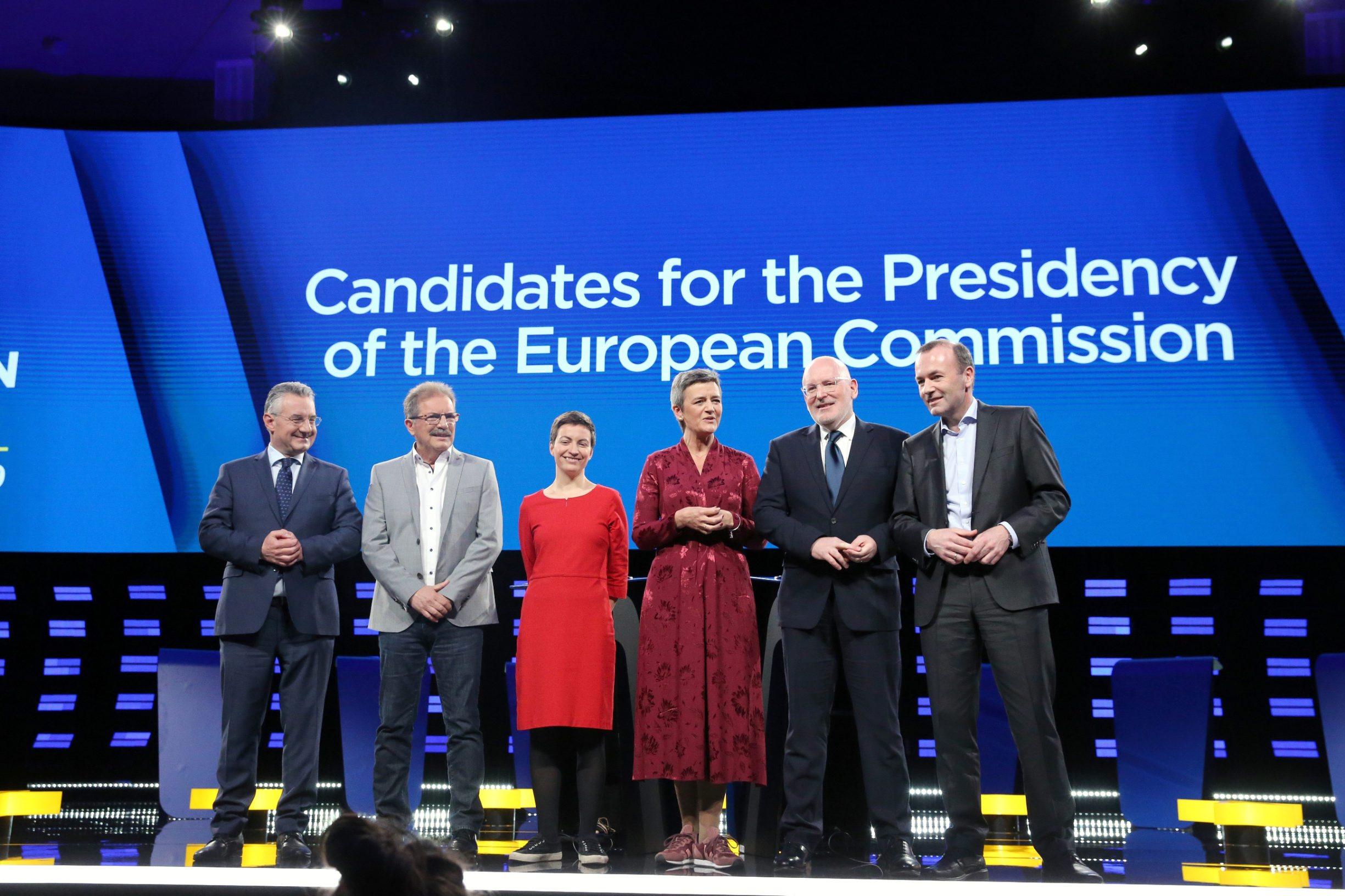 Jan Zahradil (ECR), Nico Cue (GUE), Ska Keller (Zeleni), Margrethe Vestager (ALDE), Frans Timmermans (S&D) i Manfred Weber (EPP)