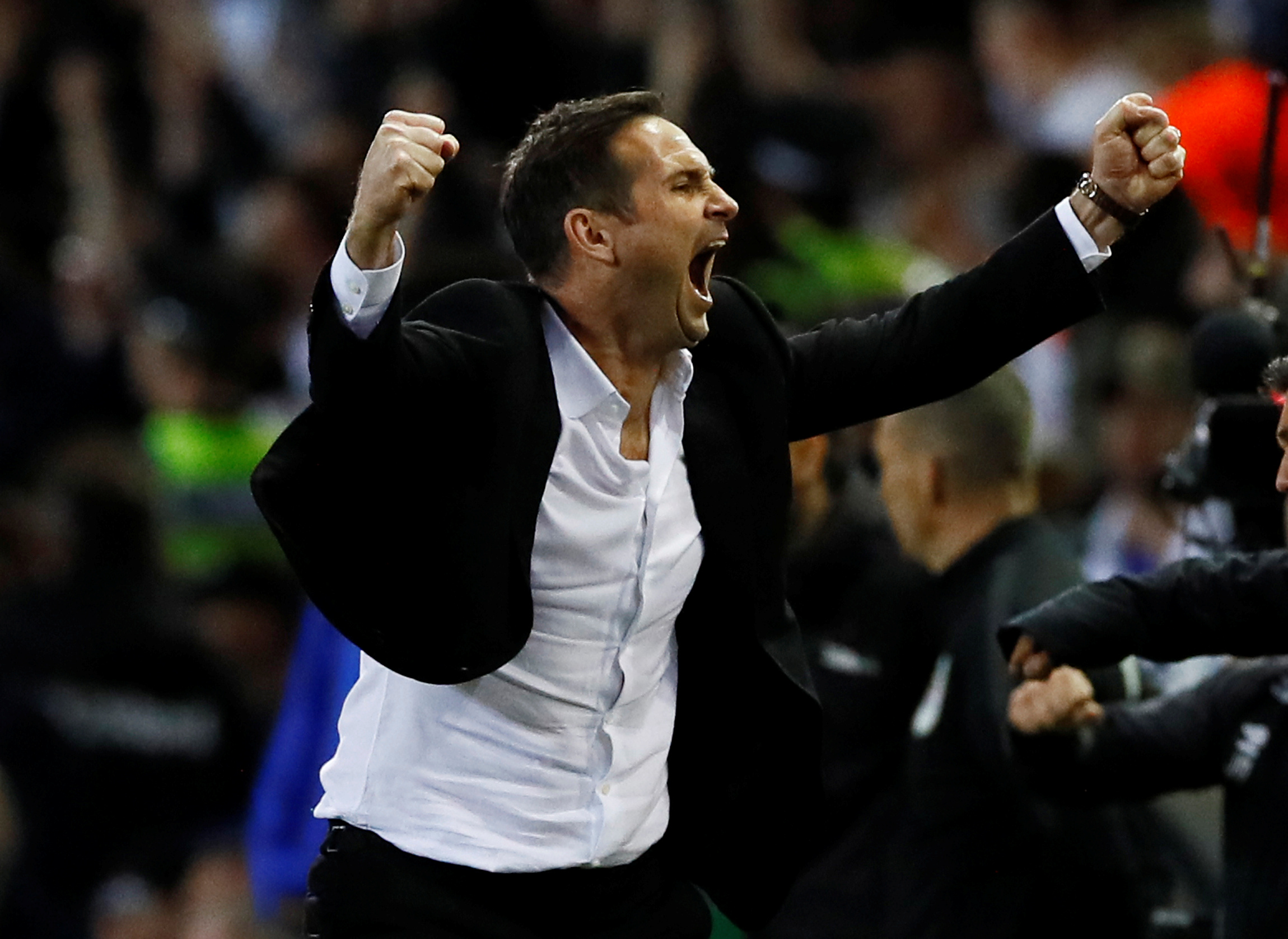 Soccer Football - Championship Play-Off Semi Final Second Leg - Leeds United v Derby County - Elland Road, Leeds, Britain - May 15, 2019   Derby County manager Frank Lampard celebrates after the match            Action Images via Reuters/Jason Cairnduff