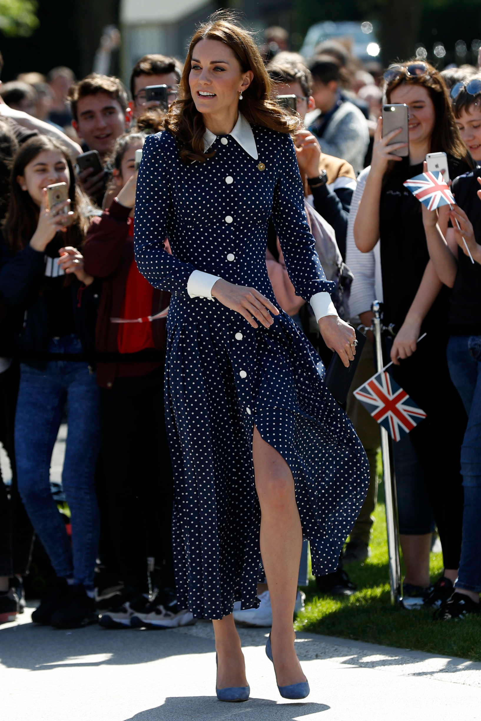 BLETCHLEY, ENGLAND - MAY 14: Catherine, Duchess of Cambridge, arrives to visit the D-Day exhibition at Bletchley Park on May 14, 2019 in Bletchley, England. The D-Day exhibition marks the 75th anniversary of the D-Day landings. (Photo by Darren Staples/Getty Images)