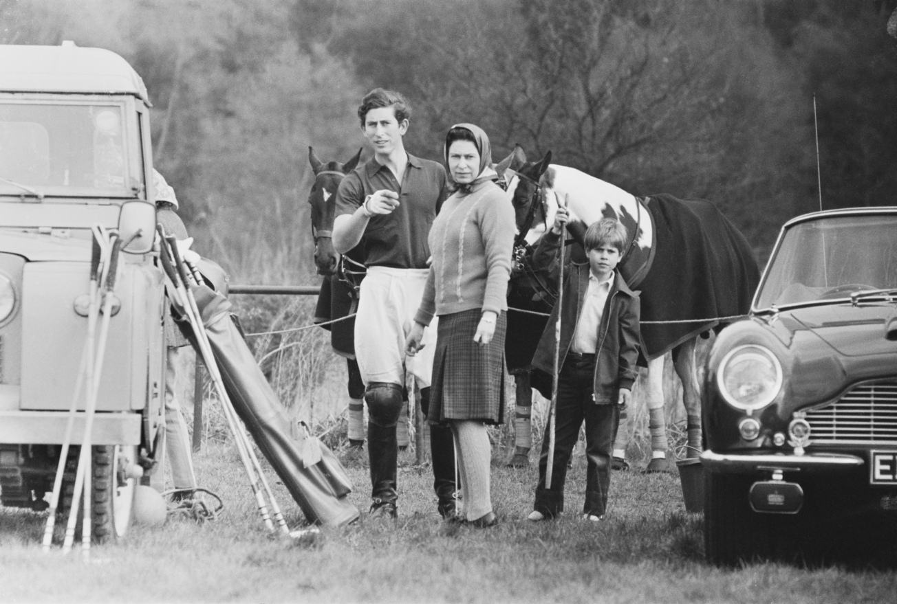 Prince Charles takes part in a polo match in Windsor Great Park, accompanied by the Queen and Prince Edward, UK, 1st May 1971. (Photo by Reg Burkett/Daily Express/Getty Images)