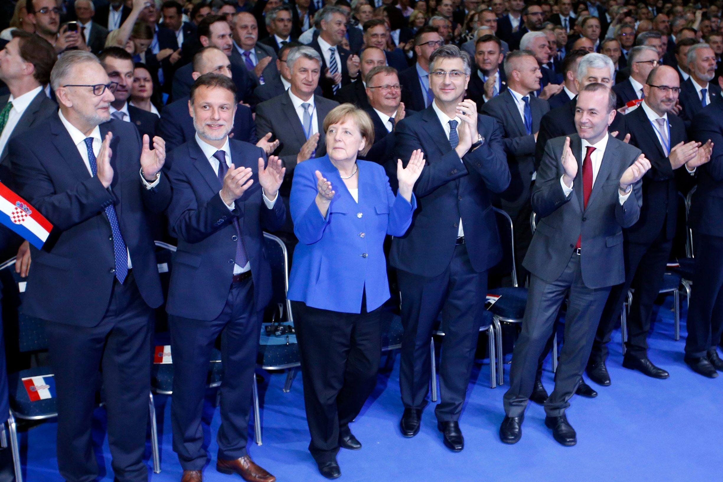 Njemačka kancelarka Angela Merkel na predizbornom skupu HDZ-a za članove EU parlamenta