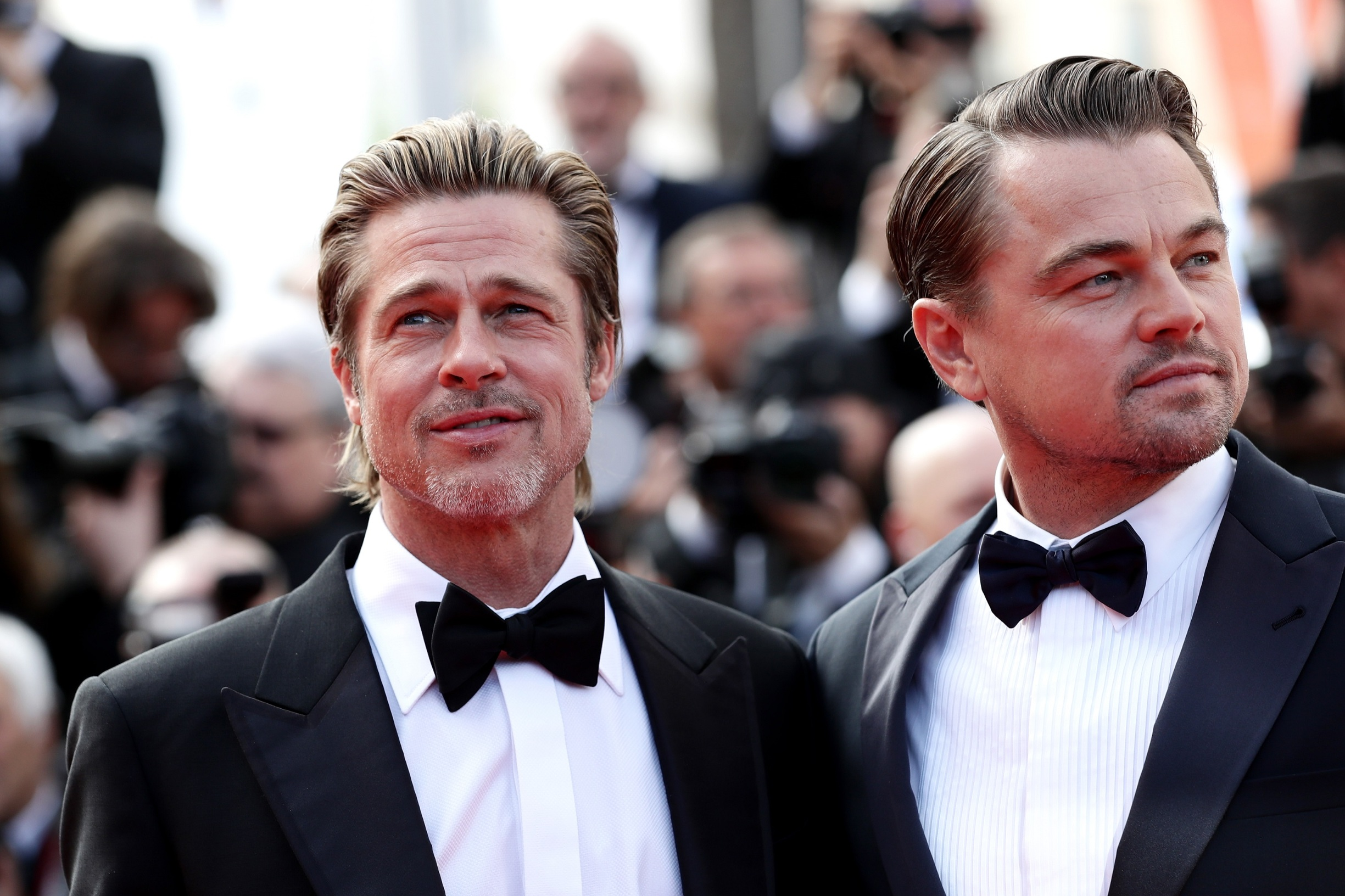 CANNES, FRANCE - MAY 21: Brad Pitt and Leonardo DiCaprio attends the screening of