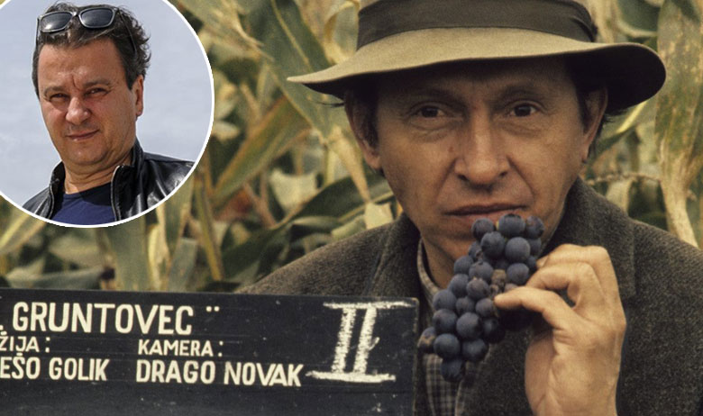 Martin Sagner na snimanju Gruntovčana; u krugu: Boris Svrtan
